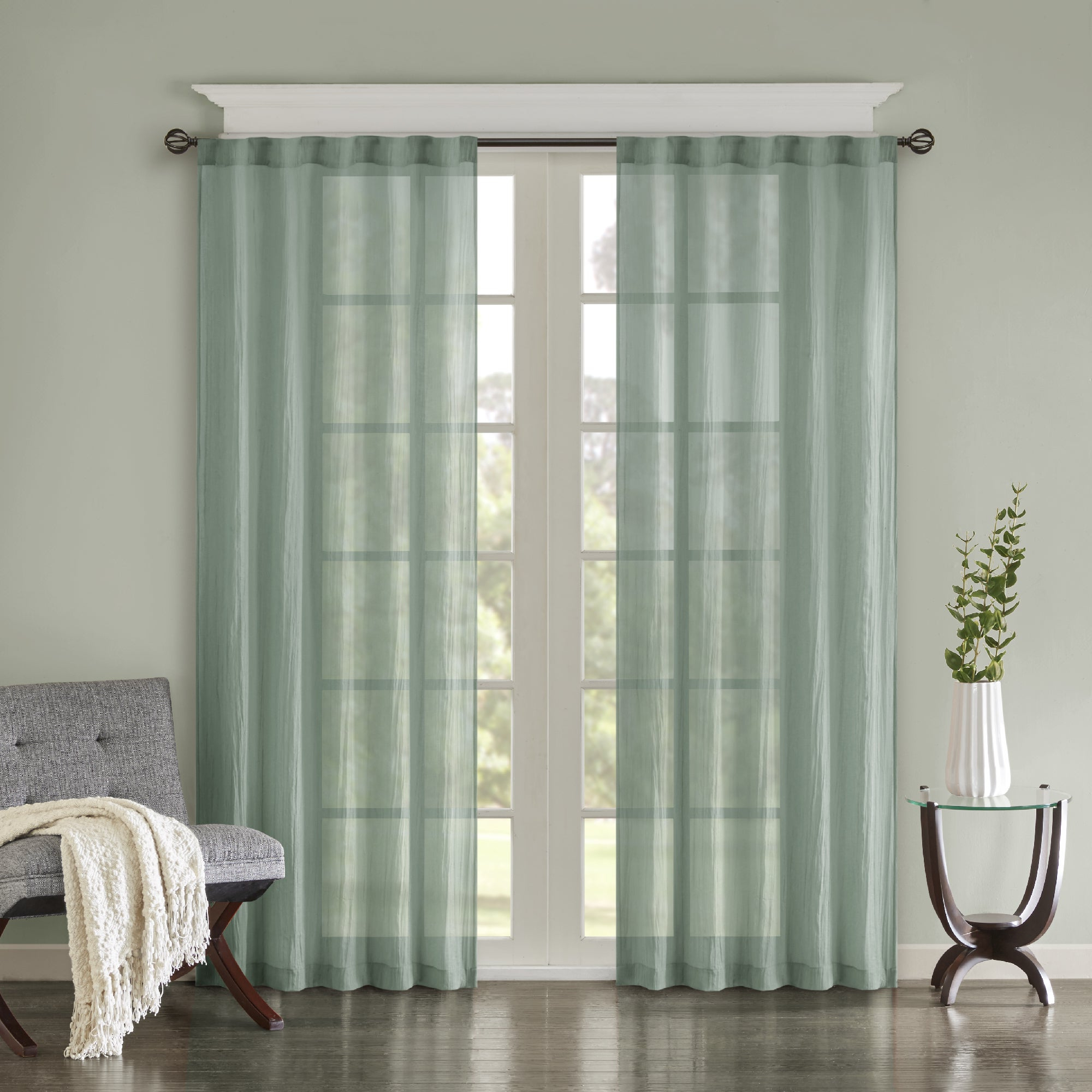 Featured Photo of Kaylee Solid Crushed Sheer Window Curtain Pairs