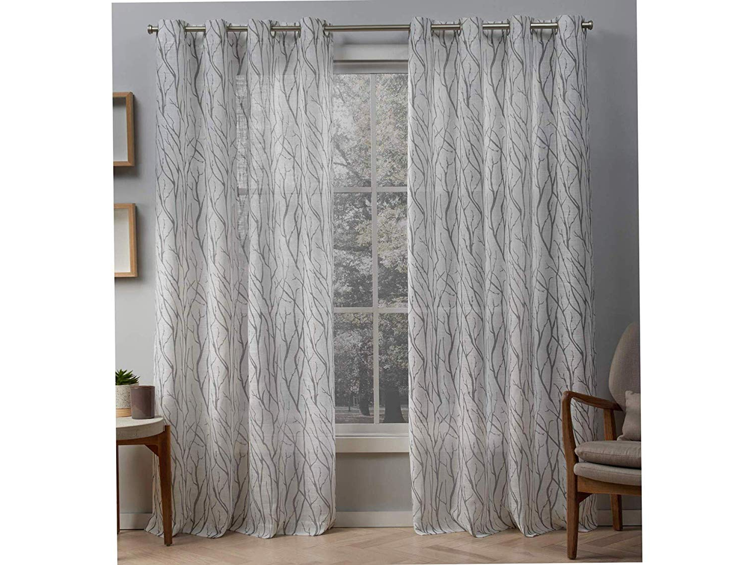 2021 Oakdale Textured Linen Sheer Grommet Top Curtain Panel Pairs In Amazon: Еxclusivе Hоmе Curtаins Home Decor Oakdale Motif (View 1 of 20)