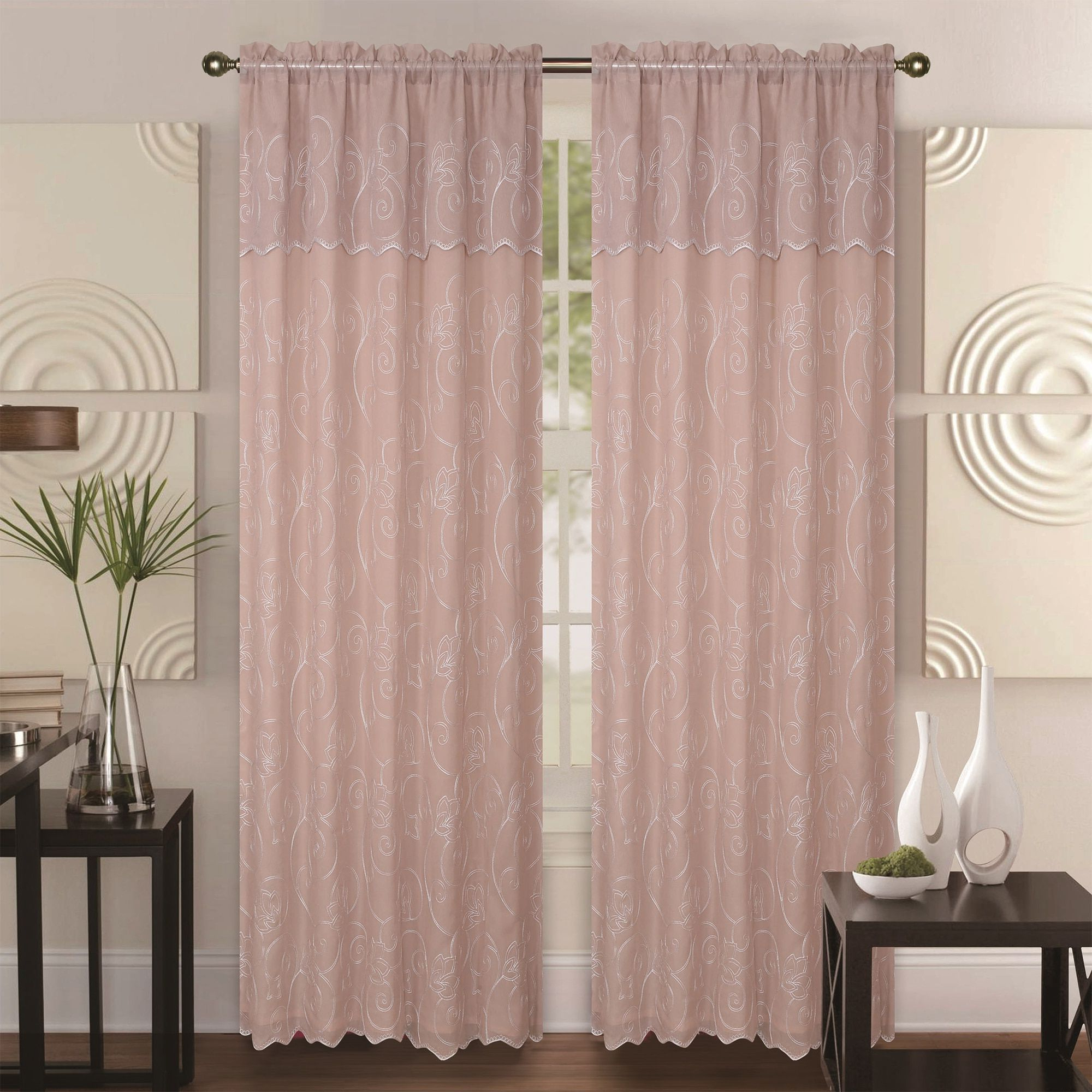 2021 Ofloral Embroidered Faux Silk Window Curtain Panels Within Double Layer Embroidery Floral Sheer Linen Front / Faux Silk (View 20 of 20)