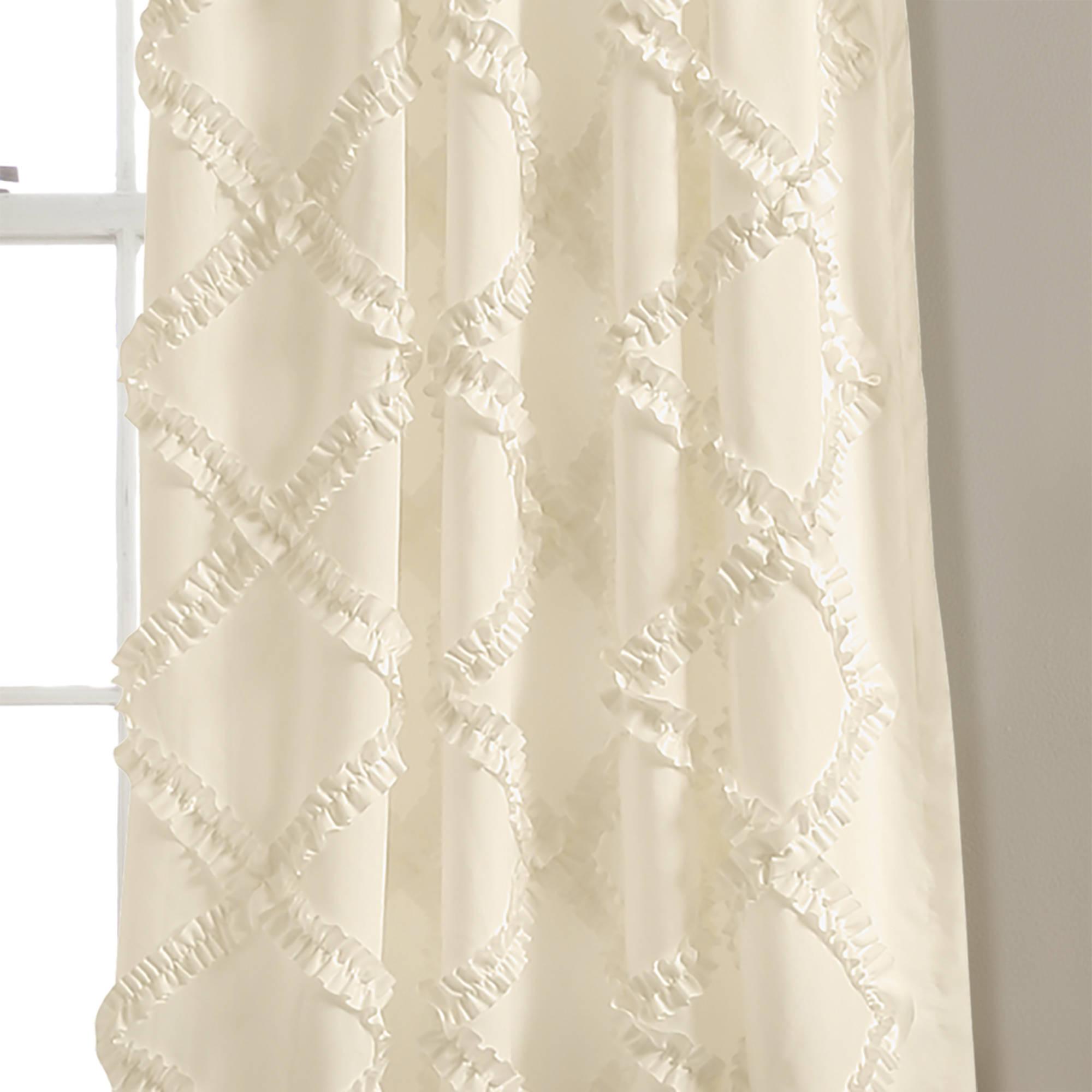 2021 Ruffle Diamond Window Curtain Set Regarding Ruffle Diamond Curtain Panel Pairs (View 18 of 20)