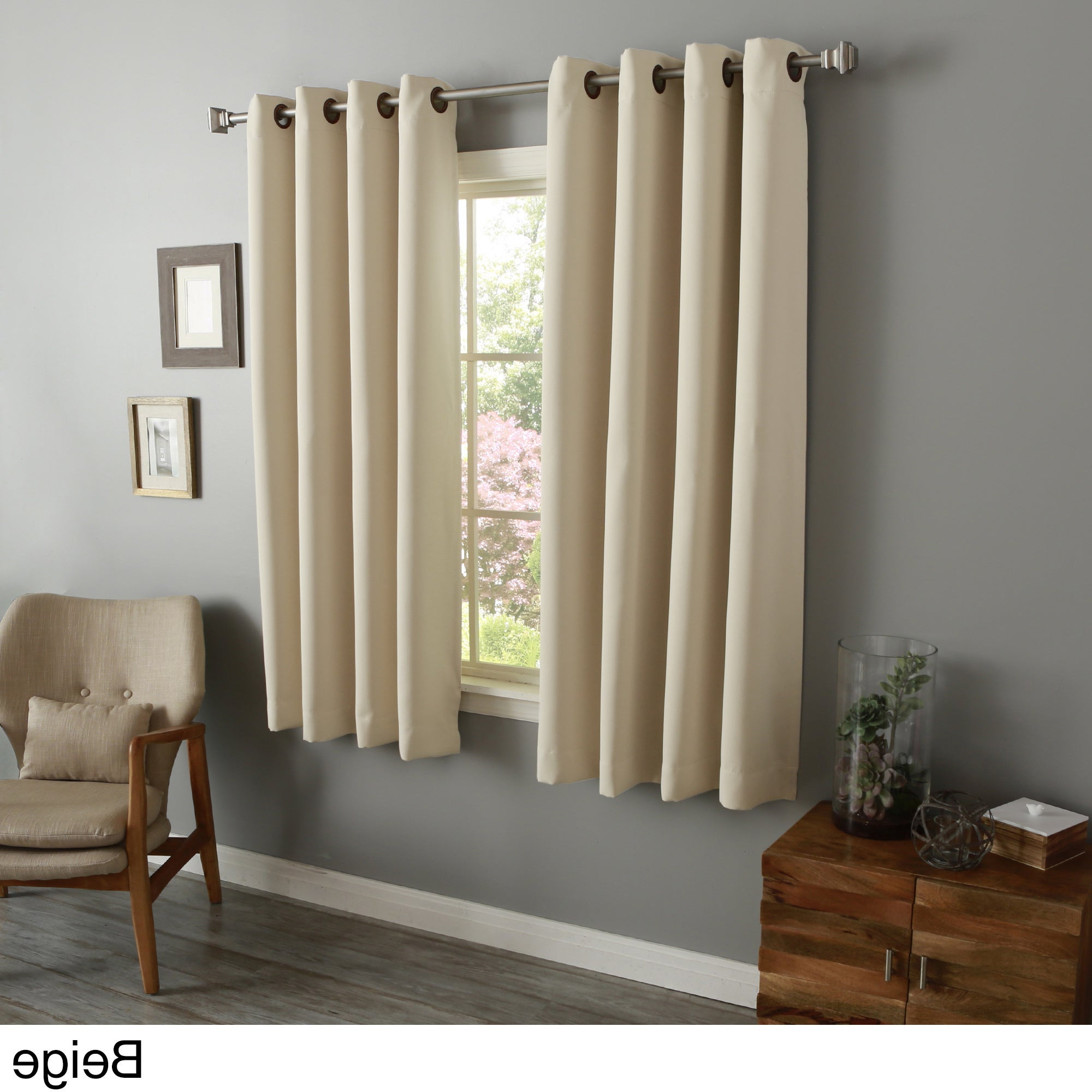 "2021 Solid Insulated Thermal Blackout Curtain Panel Pairs Regarding Aurora Home 54 Inch Thermal Insulated Blackout Grommet Top Curtain Panel  Pair – 52""w X 54""l Each (View 1 of 20)"