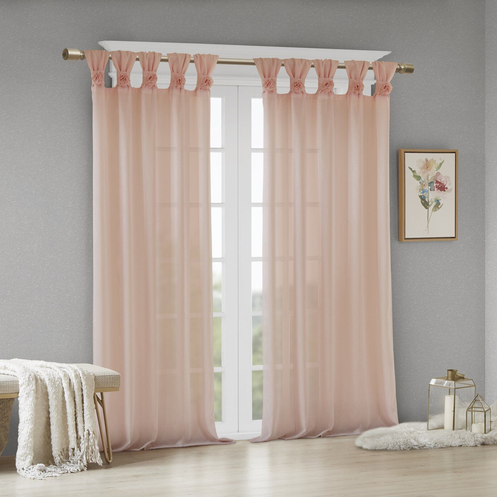 2021 Tab Top Sheer Single Curtain Panels Within Mysliwiec Floral Twist Solid Semi Sheer Tab Top Single (View 19 of 20)