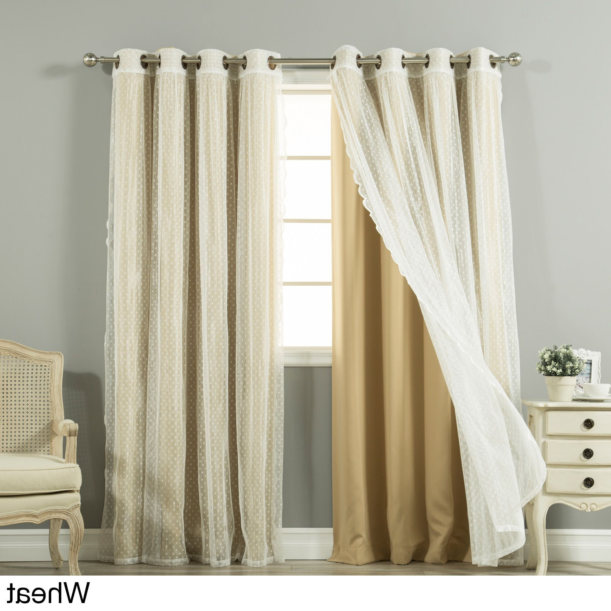 2021 Tulle Sheer With Attached Valance And Blackout 4 Piece Curtain Panel Pairs In Aurora Home Mix And Match Curtains Blackout And Dot Sheer (View 14 of 20)