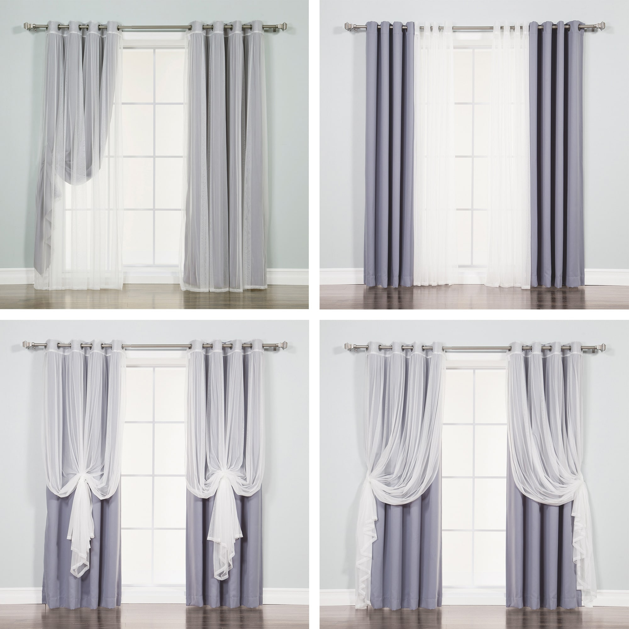 2021 Tulle Sheer With Attached Valance And Blackout 4 Piece Curtain Panel Pairs With Regard To Aurora Home Mix & Match Tulle Sheer With Attached Valance And Blackout 4 Piece Curtain Panel Pair (View 6 of 20)