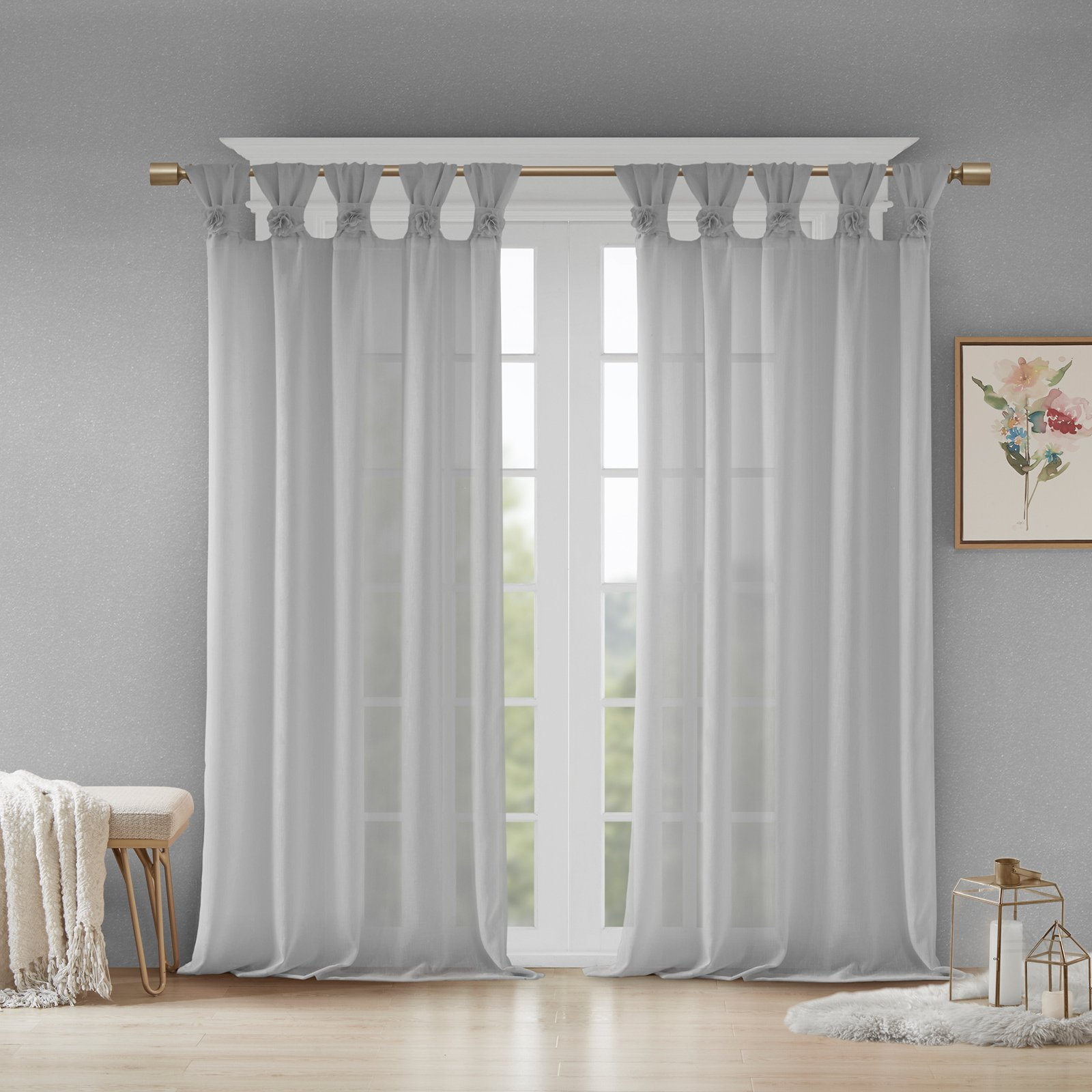 2021 Twisted Tab Lined Single Curtain Panels Pertaining To Madison Park Rosette Floral Twist Tab Top Embellished Flower (View 19 of 20)
