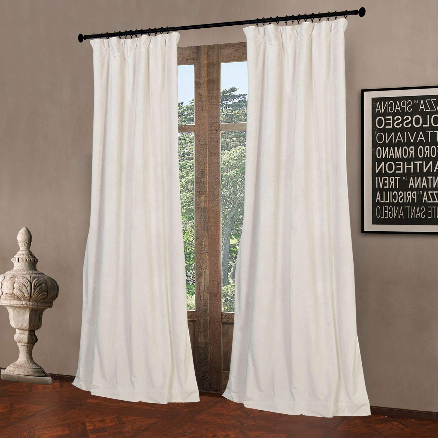 """[%52"""" W X 108"""" L (Set Of 2 Panels) Pinch Pleat 90% Grey Lining Blackout Velvet Solid Curtain Thermal Insulated Patio Door Curtain Panel Drape For Inside Favorite Signature Pinch Pleated Blackout Solid Velvet Curtain Panels
