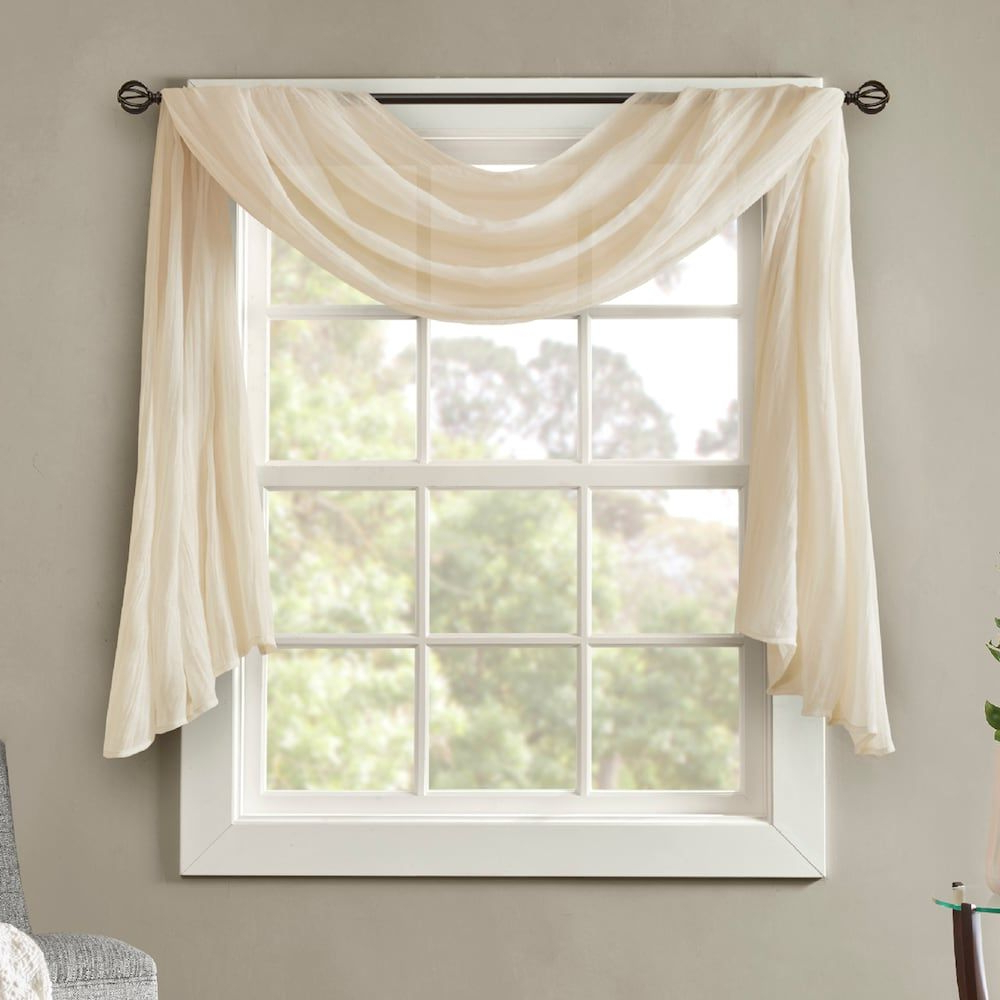 560 Weiß 140×600 Voile Querbehang Freihanddeko – Artofit For Well Liked Kaylee Solid Crushed Sheer Window Curtain Pairs (View 18 of 20)