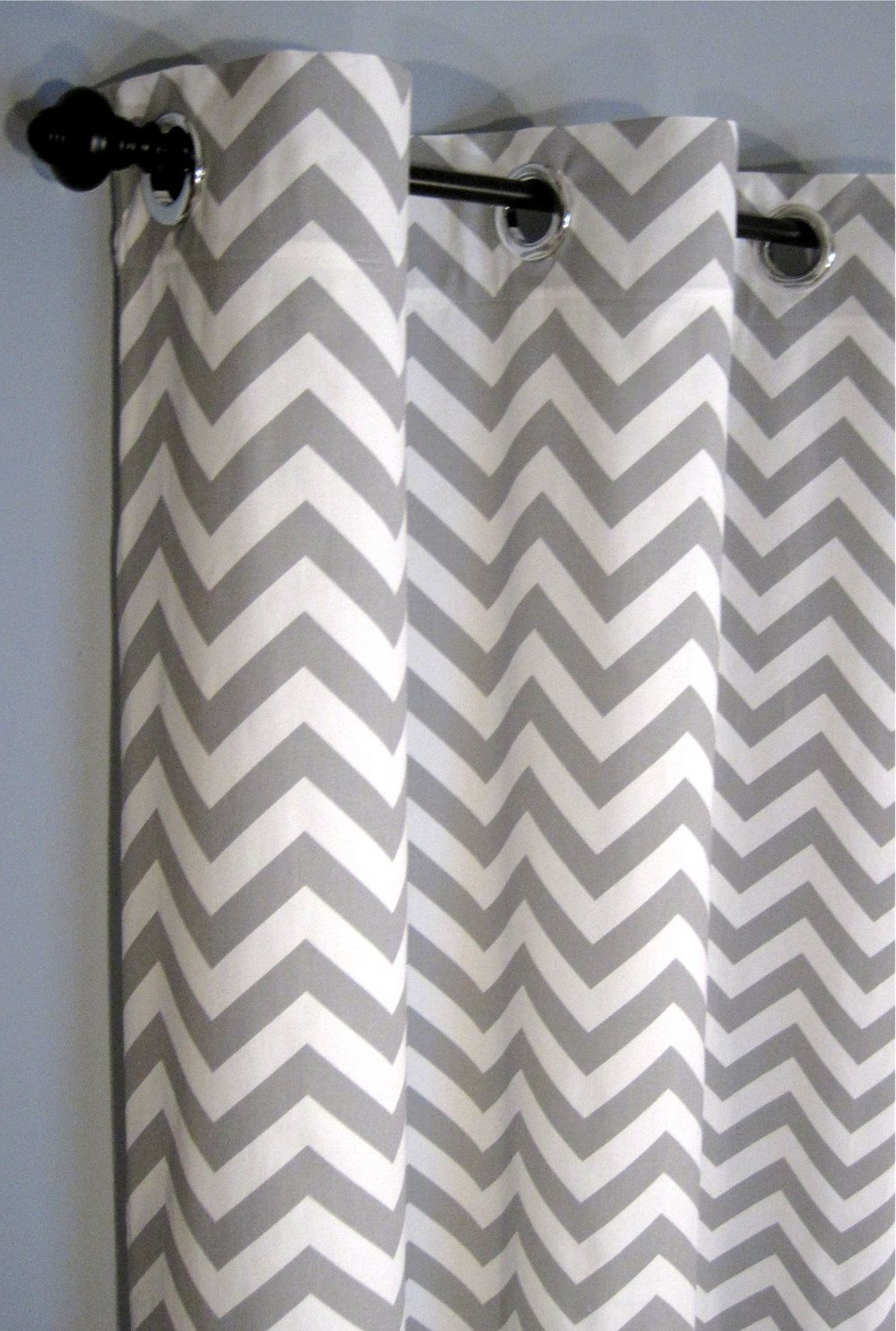 """84"""" Grey Zig Zag Grommet Curtains – Two Chevron Curtain For Current Chevron Blackout Grommet Curtain Panels (View 15 of 20)"""