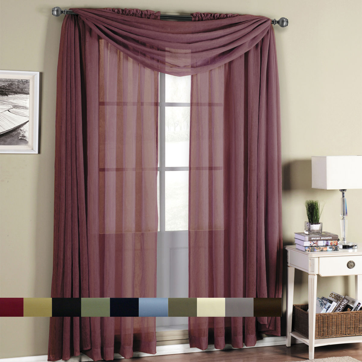 Abri Rod Pocket Crushed Sheer Window Curtain Panels Or Scarf, Beautiful Decor Intended For Famous Infinity Sheer Rod Pocket Curtain Panels (View 10 of 20)