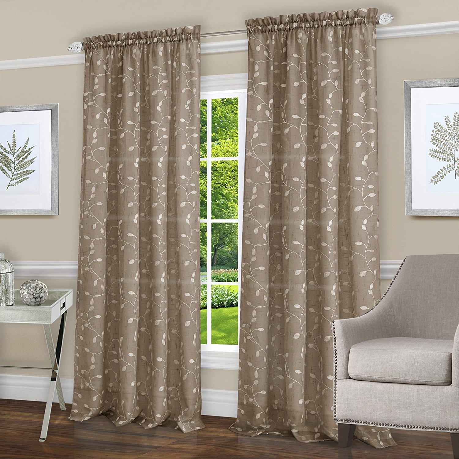 """Achim Home Furnishings Chloe Rod Pocket Window Curtain Panel, 50"""" X 84"""", Taupe Throughout Most Current Willow Rod Pocket Window Curtain Panels (View 15 of 20)"""