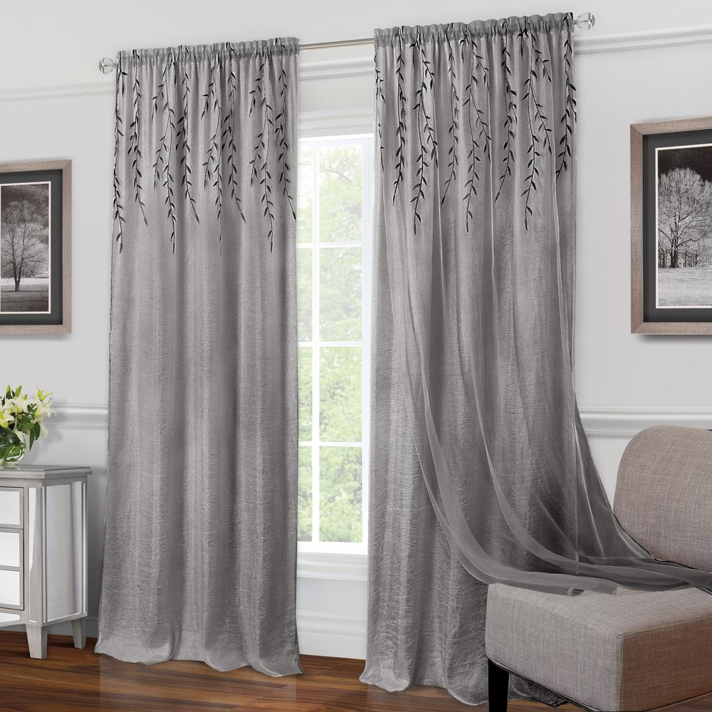 Achim Willow Grey Polyester Rod Pocket Curtain – 42 In. W X 84 In (View 14 of 20)