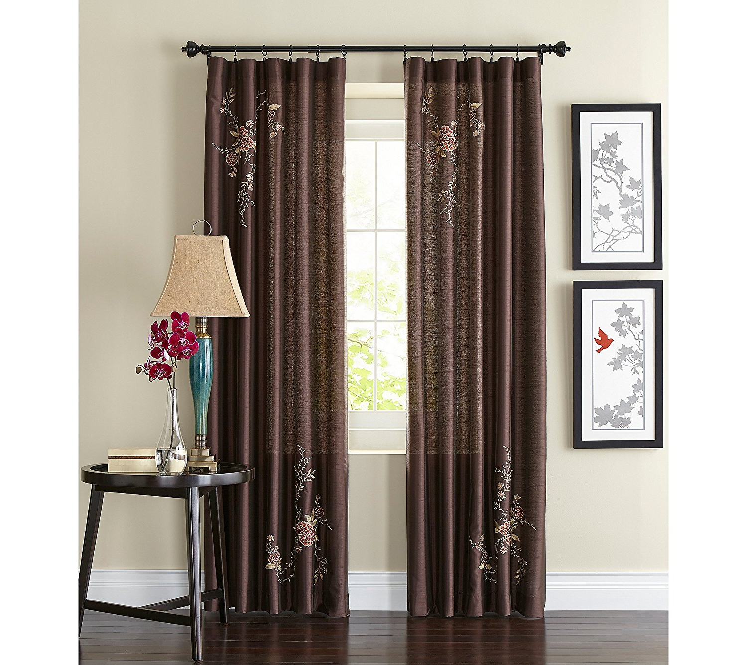 Alesandra Floral Embroidered Faux Silk Window Curtain Panel, Brown, 44 Inch X 84 Inch, Drapes Pinch Bordeaux 56inch Treatment Curtain Swag Orange. (View 16 of 20)