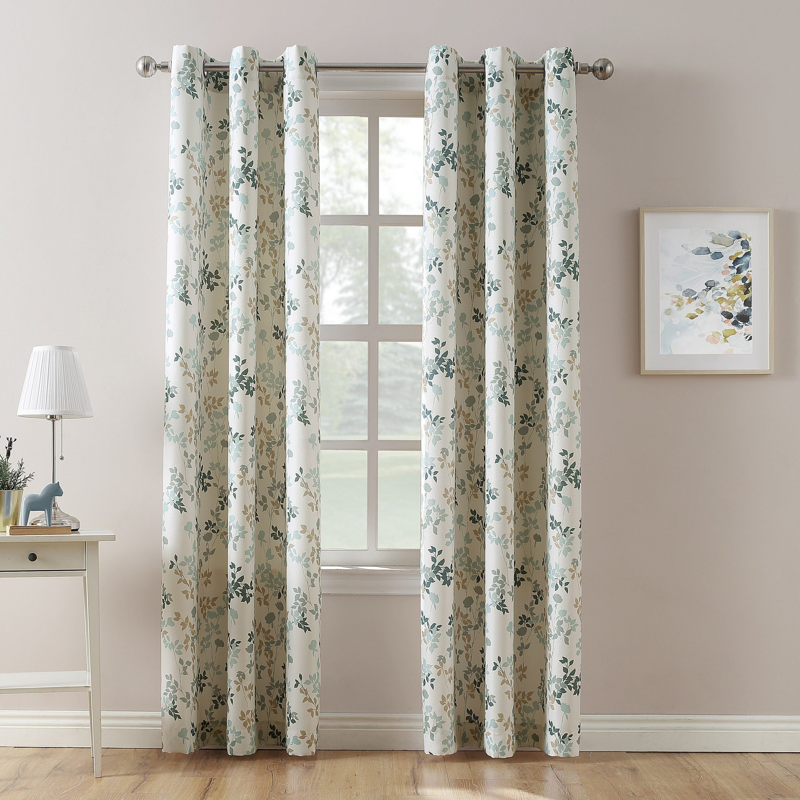 Alex Nature/floral Room Darkening Grommet Single Curtain Panel With Most Popular Overseas Leaf Swirl Embroidered Curtain Panel Pairs (View 1 of 21)