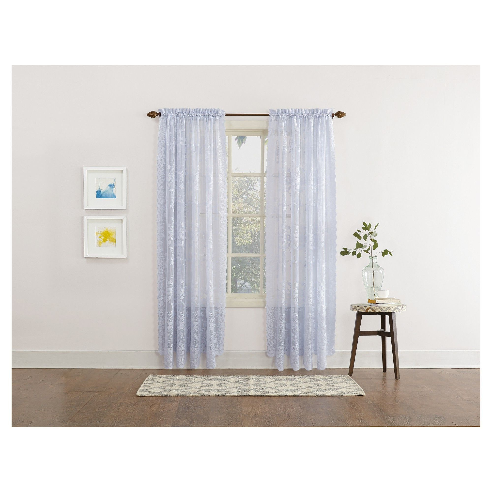 Alison Floral Sheer Lace Rod Pocket Curtain Panel Blue 58 Intended For Fashionable Alison Rod Pocket Lace Window Curtain Panels (View 7 of 20)