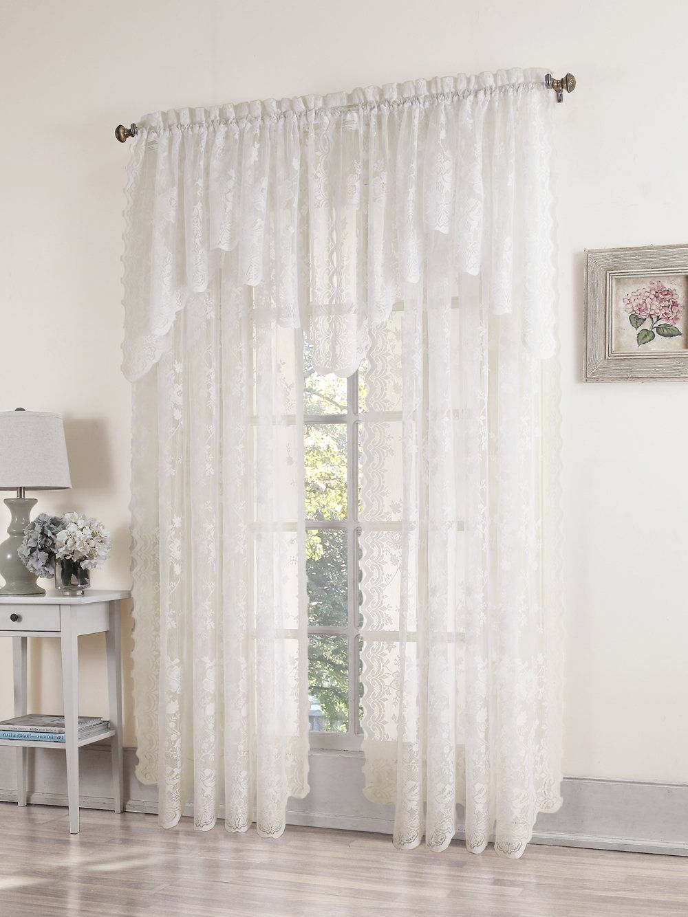 Alison Rod Pocket Lace Window Curtain Panels For Recent Amazon: No (View 6 of 20)