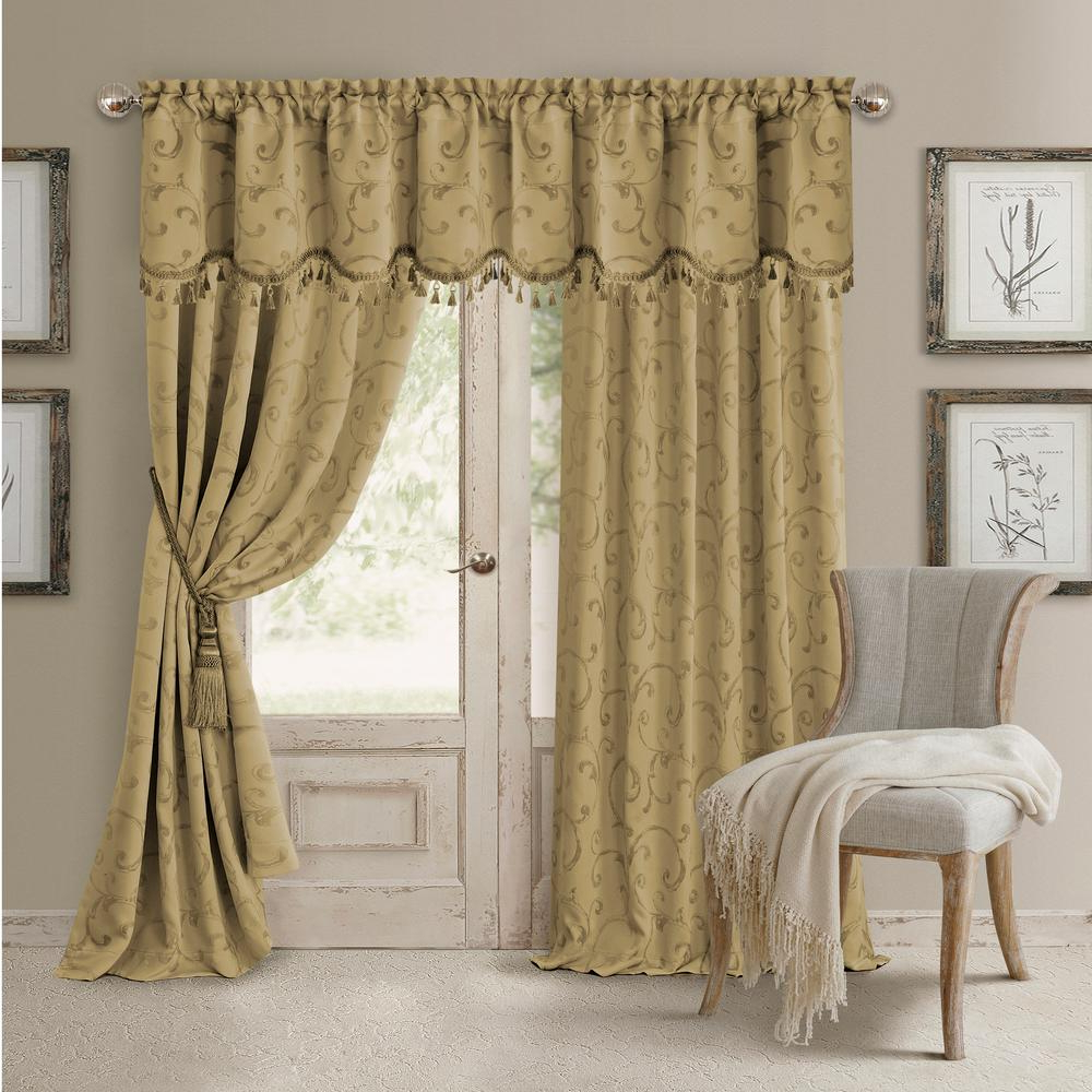 All Seasons Blackout Window Curtains Intended For Well Known Elrene Mia Jacquard Scroll Blackout Window Curtain (View 8 of 20)
