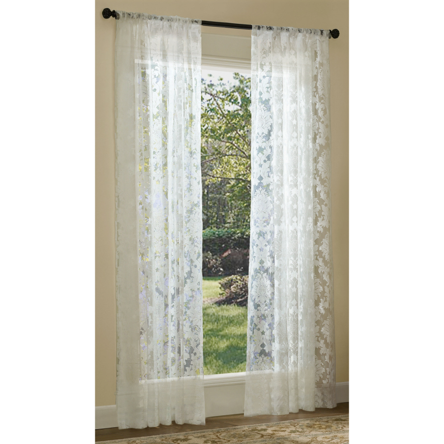Allen + Roth Bristol Sheer 84 In White Polyester Rod Pocket Inside Famous Light Filtering Sheer Single Curtain Panels (View 1 of 20)