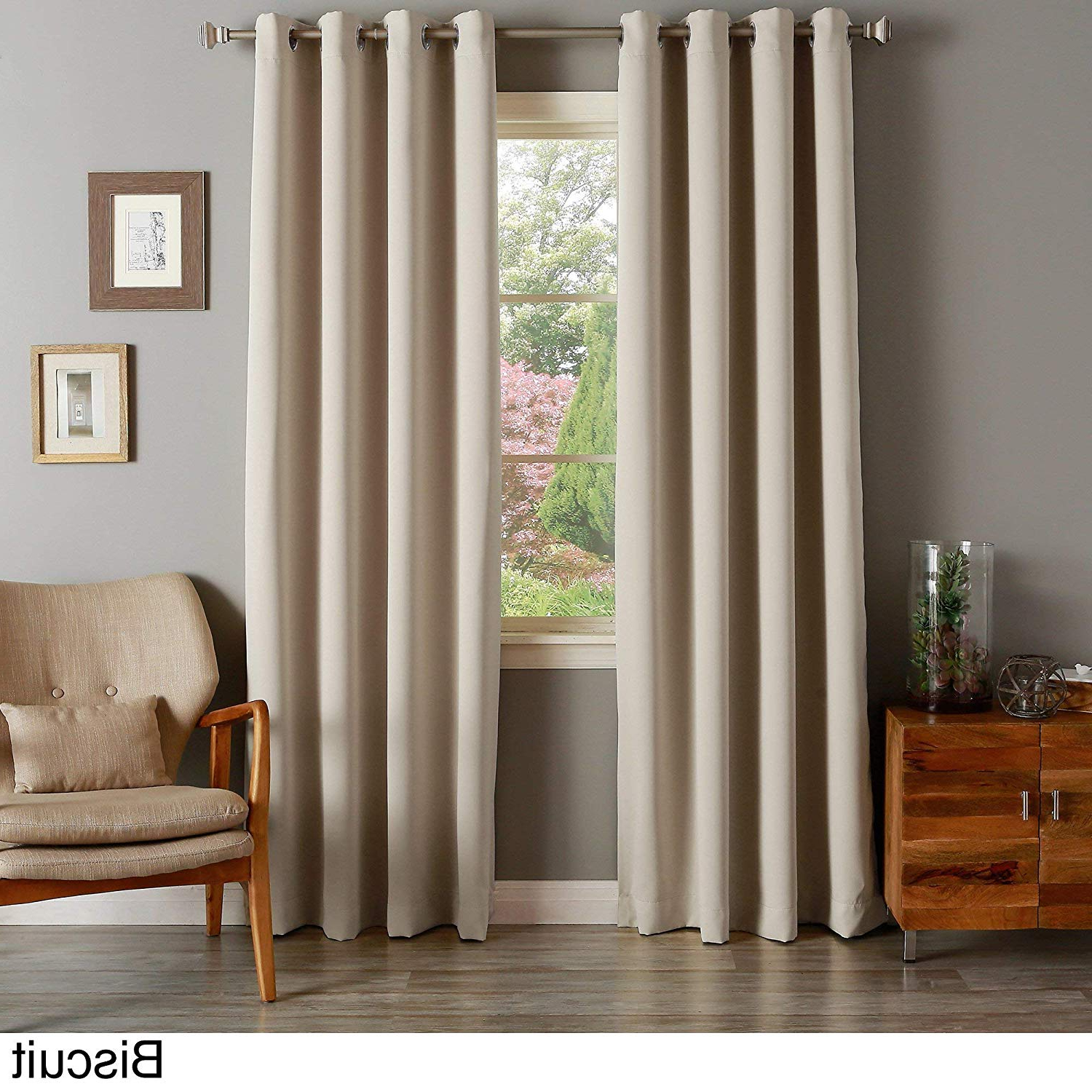 Amazon: Aurora Home Silvertone Grommet Top Thermal Inside Latest Grommet Top Thermal Insulated Blackout Curtain Panel Pairs (View 3 of 20)