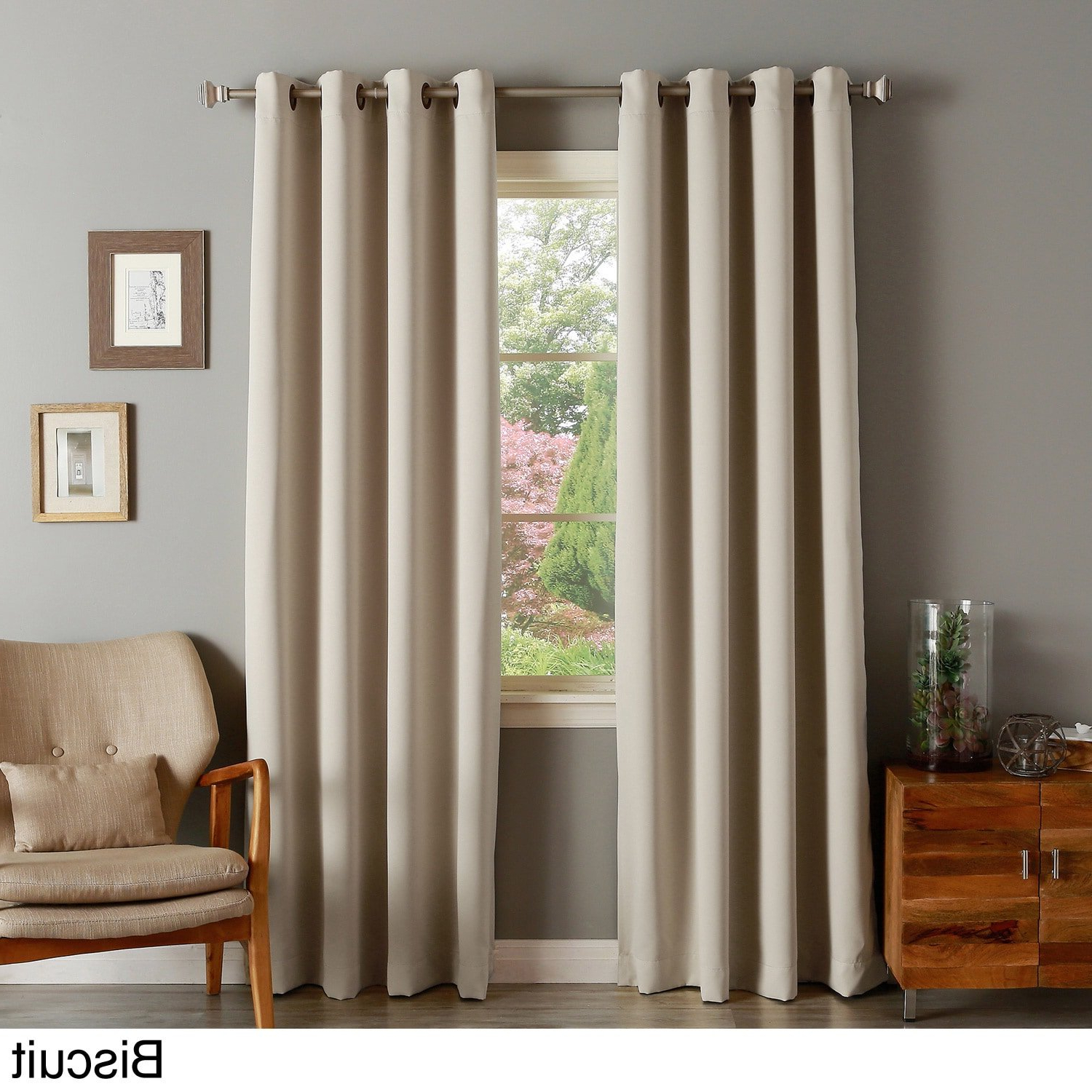 Amazon: Aurora Home Thermal Insulated Blackout Grommet Inside Well Liked Thermal Insulated Blackout Grommet Top Curtain Panel Pairs (View 1 of 20)