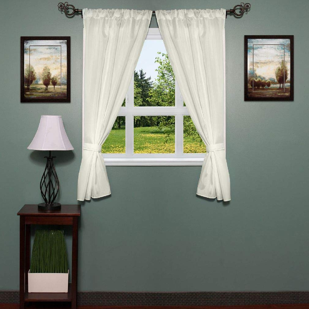 """Amazon: Classic Hotel Quality 36"""" W X 54"""" L Fabric With Trendy Classic Hotel Quality Water Resistant Fabric Curtains Set With Tiebacks (View 3 of 20)"""