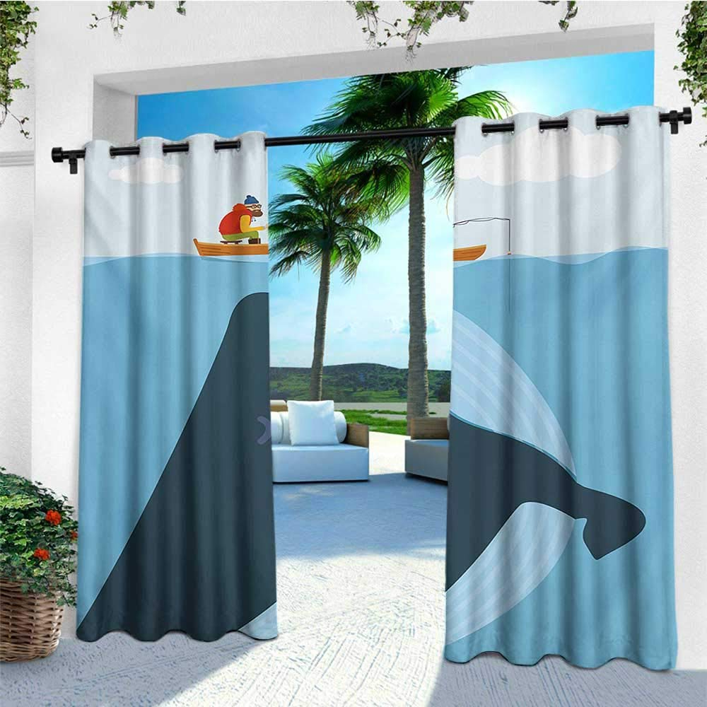Amazon : Leinuoyi Whale, Outdoor Curtain Panels Set Of 2 Regarding 2020 Matine Indoor/outdoor Curtain Panels (View 19 of 20)