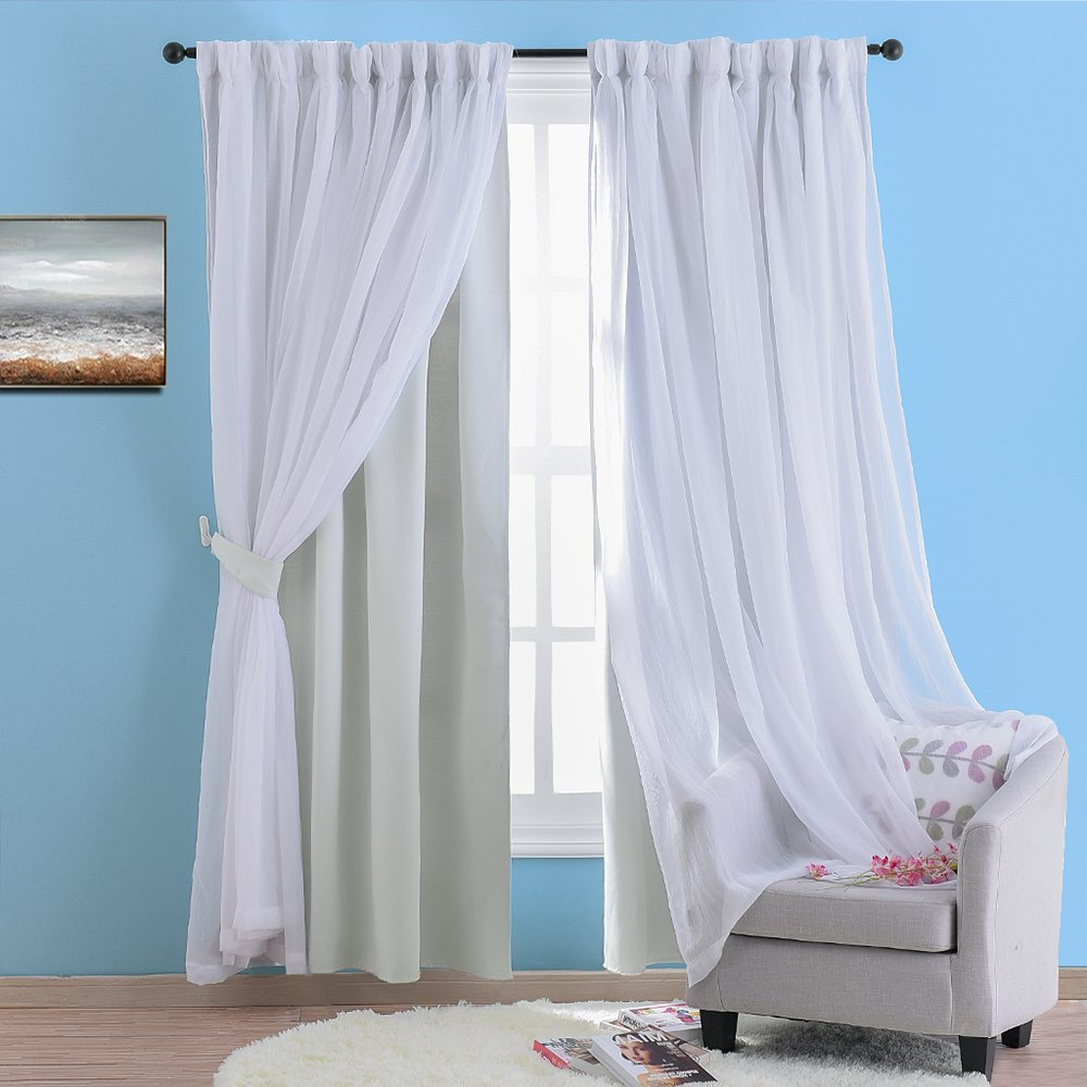 Amazon: Nicetown Double Deck Drapery Layered Curtain Inside Recent Double Layer Sheer White Single Curtain Panels (View 3 of 20)