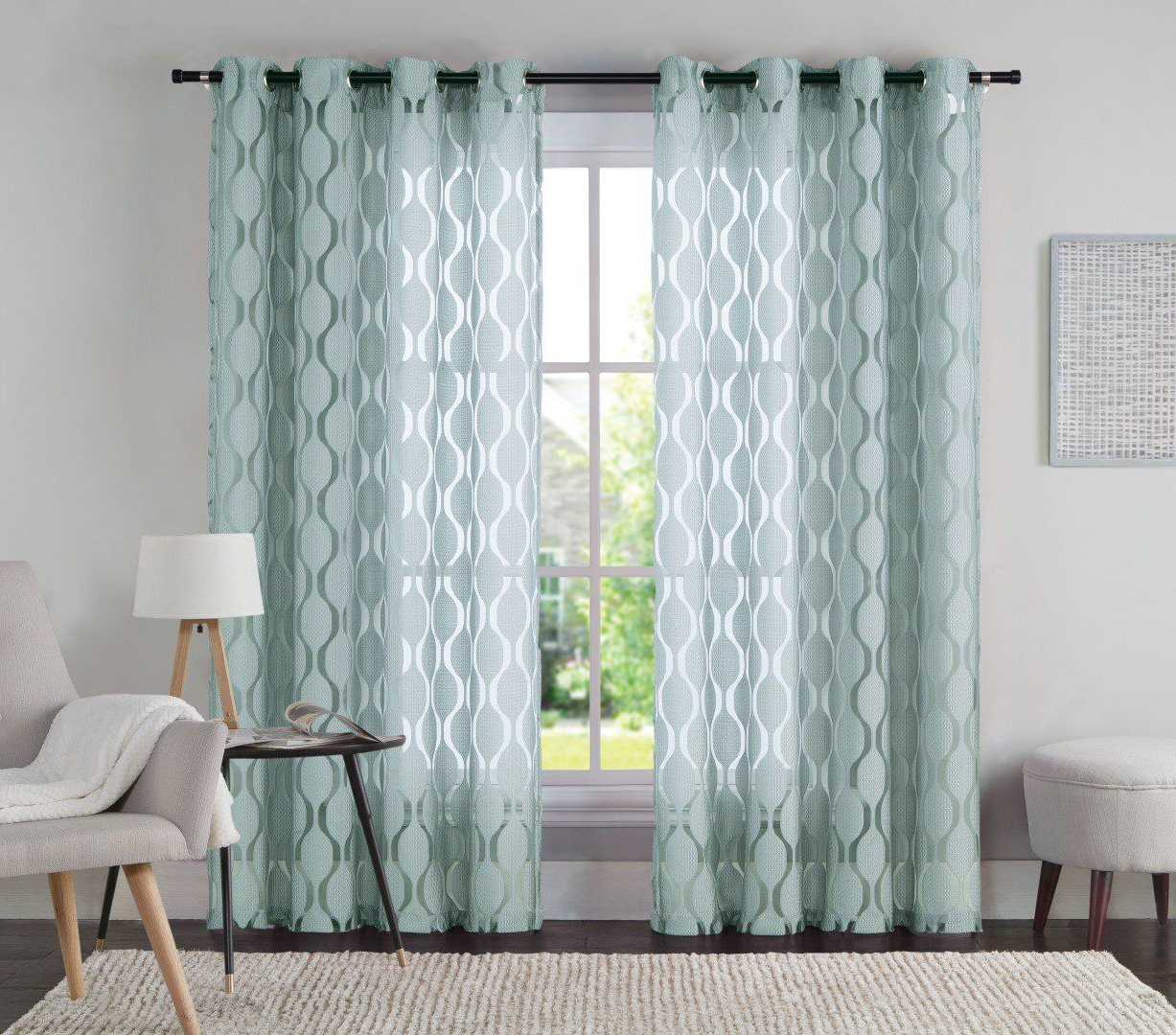 Amazon: One (1) Jacquard Grommet Window Curtain Panel In Well Liked Overseas Leaf Swirl Embroidered Curtain Panel Pairs (View 2 of 21)