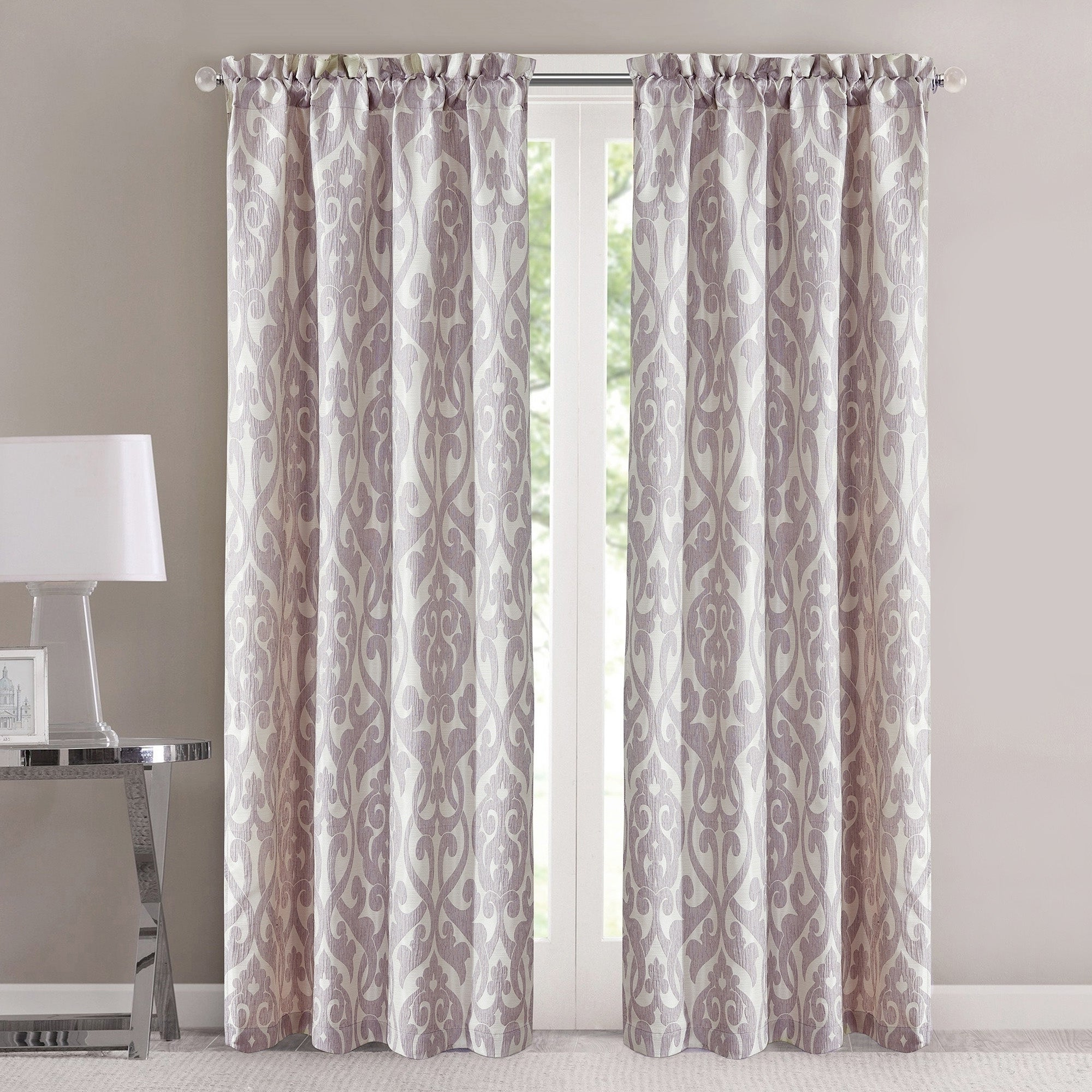 """Amrapur Overseas Alina Jacquard Curtain Panel Pair – 42"""" W X 84""""l Regarding Best And Newest Overseas Leaf Swirl Embroidered Curtain Panel Pairs (View 8 of 21)"""