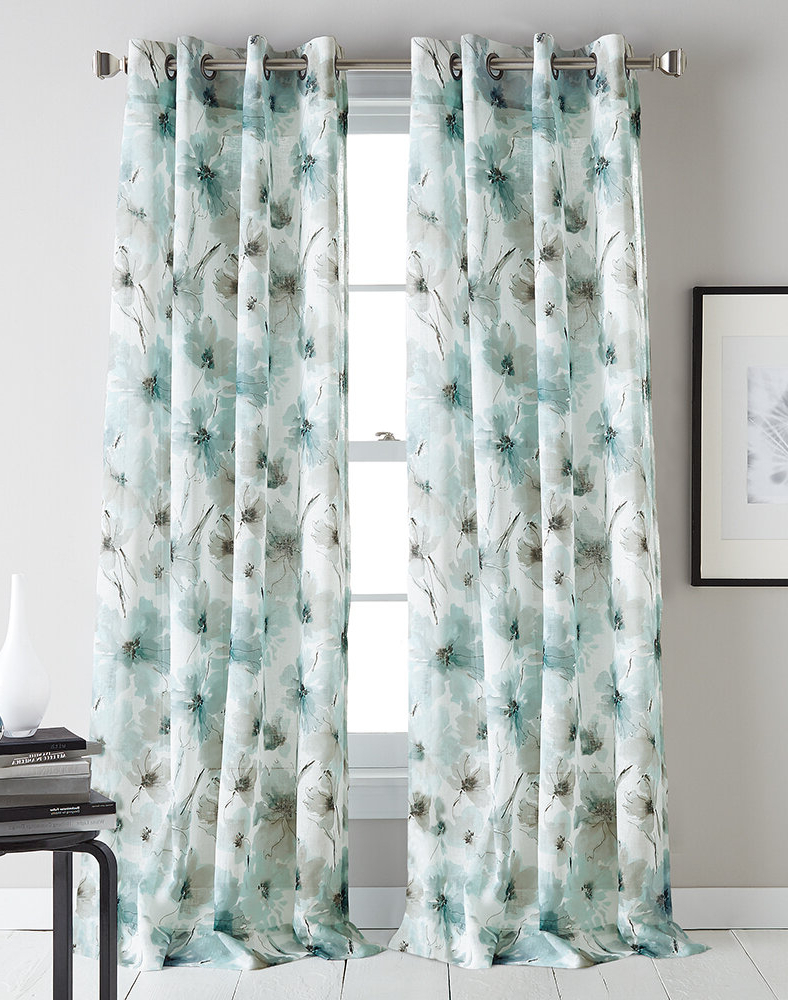 Andorra Watercolor Floral Textured Sheer Single Curtain Panels For Most Recently Released Modern Bloom Floral/flower Semi Sheer Grommet Single Curtain Panel (View 9 of 20)
