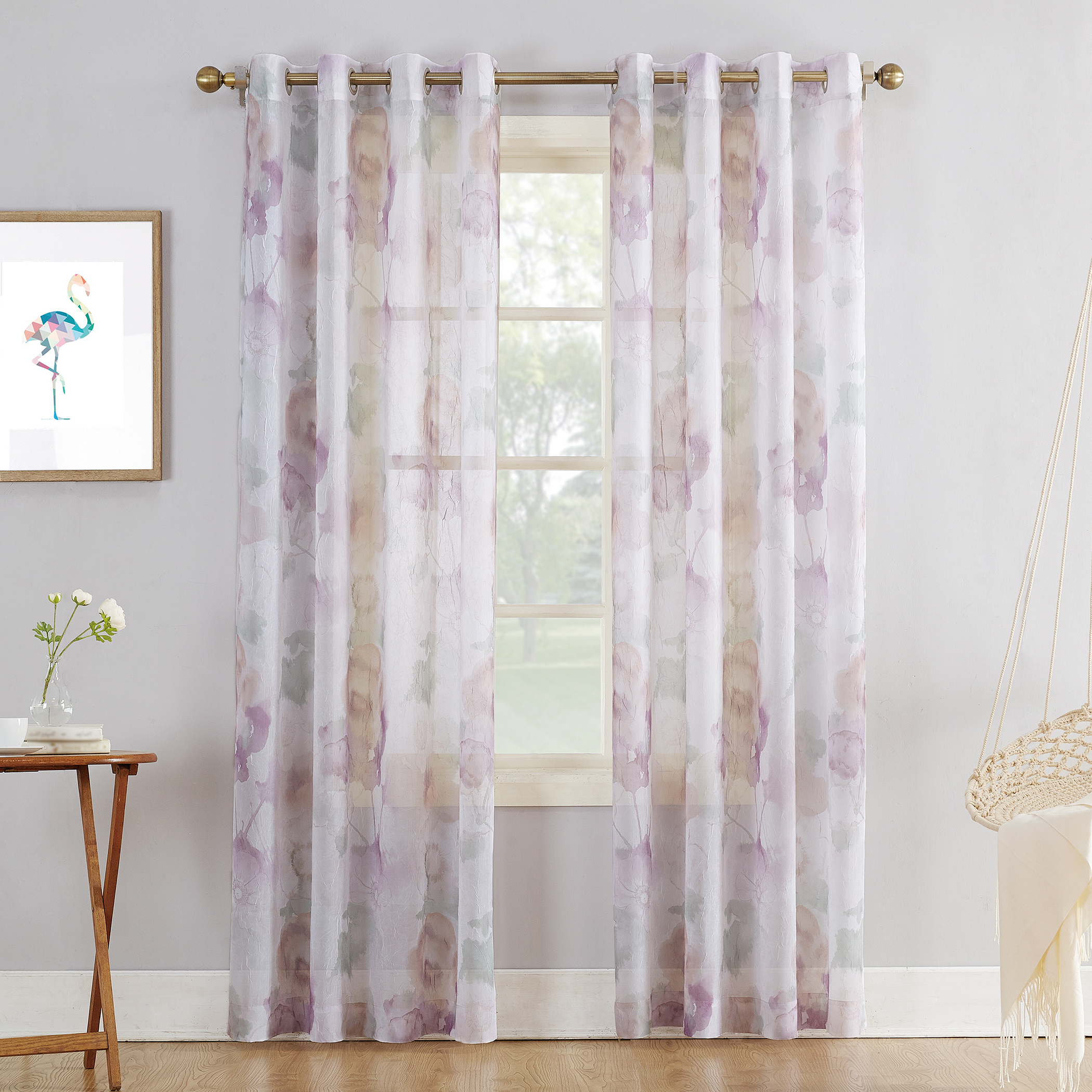 Andorra Watercolor Floral Textured Sheer Single Curtain Panels For Popular No (View 2 of 20)