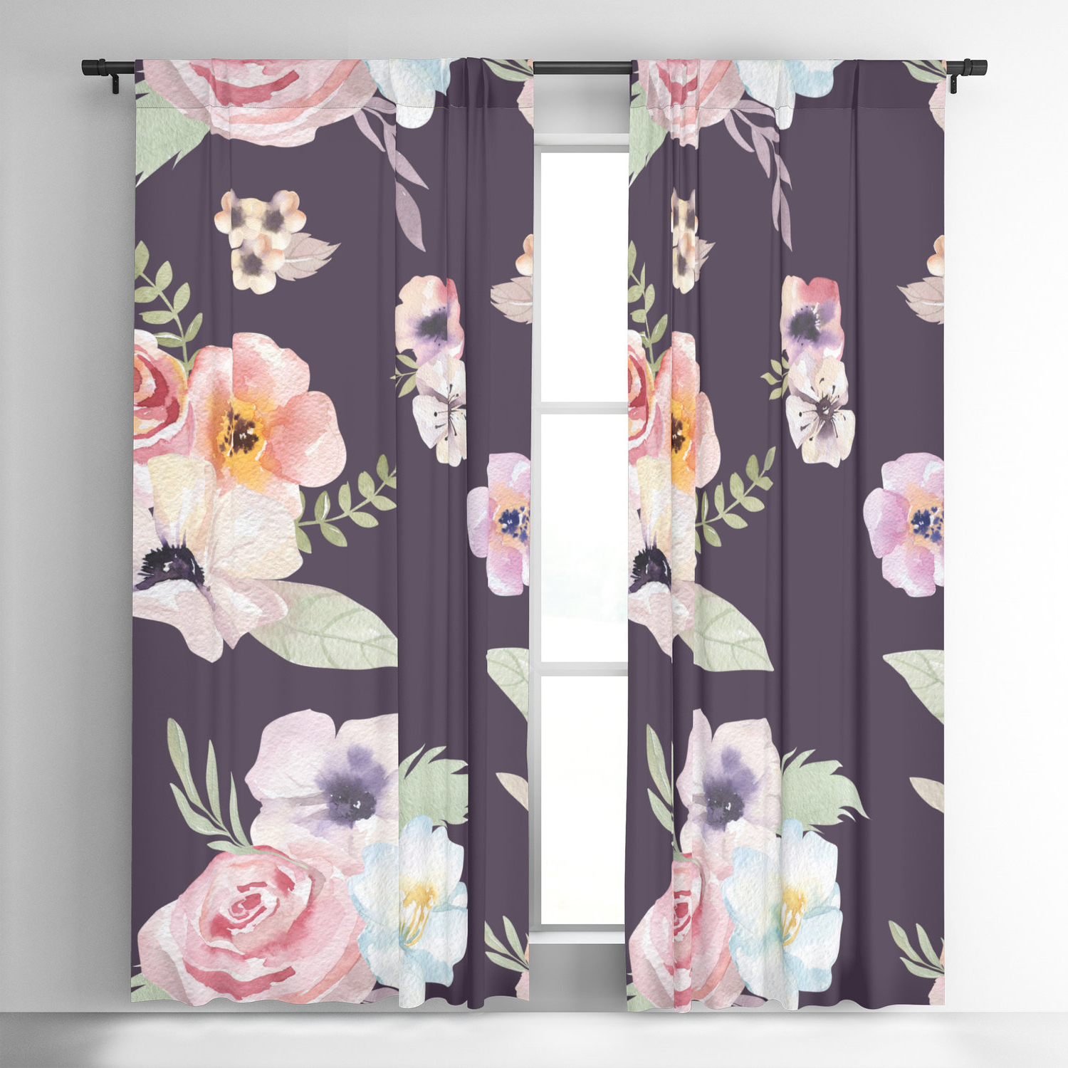 Andorra Watercolor Floral Textured Sheer Single Curtain Panels With Well Liked Window Curtains – Watercolor Floral I – Eggplant Pink – 50 X  (View 6 of 20)