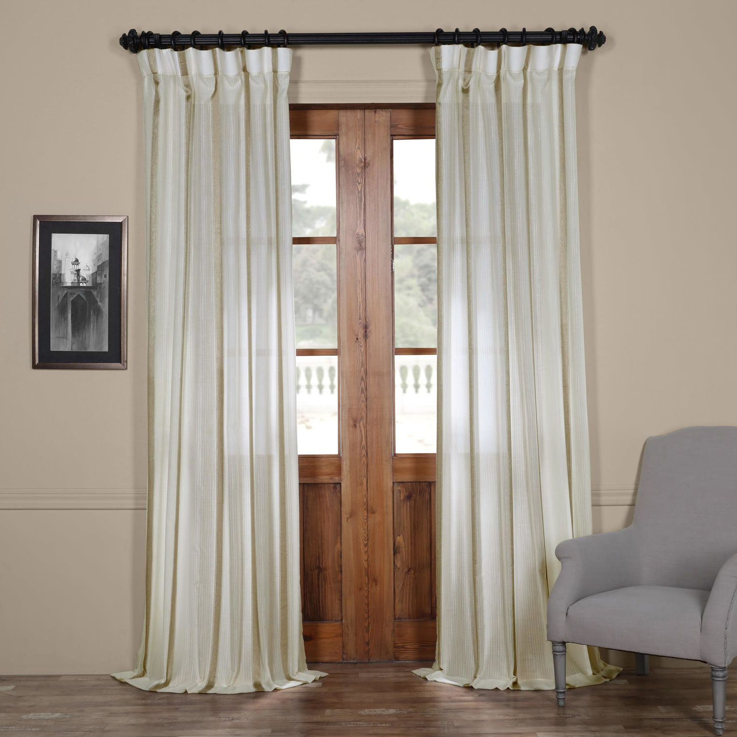 Antigua Solid Sheer Rod Pocket Single Curtain Panel Pertaining To Preferred Montpellier Striped Linen Sheer Curtains (View 11 of 20)