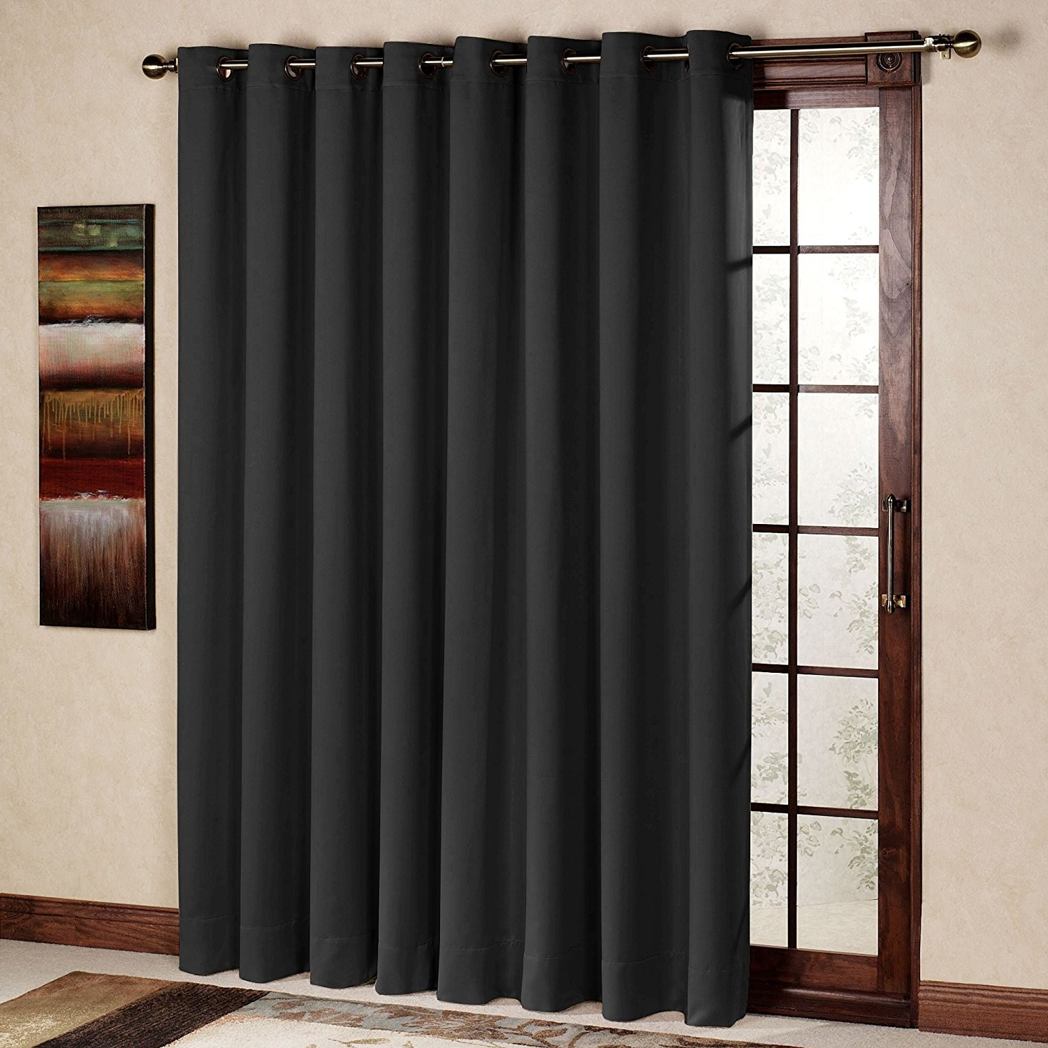 Antique Silver Grommet Top Thermal Insulated Blackout Curtain Panel Pairs Within Favorite Rhf Wide Thermal Blackout Patio Door Curtain Panel, Sliding (View 19 of 20)