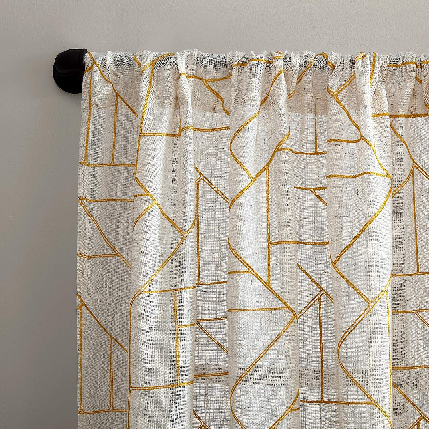 "Archaeo Jigsaw Embroidery Linen Blend Curtain Panels In Trendy Archaeo Jigsaw Embroidery Linen Blend Curtain, 50"" X 84"", Gold (View 5 of 20)"