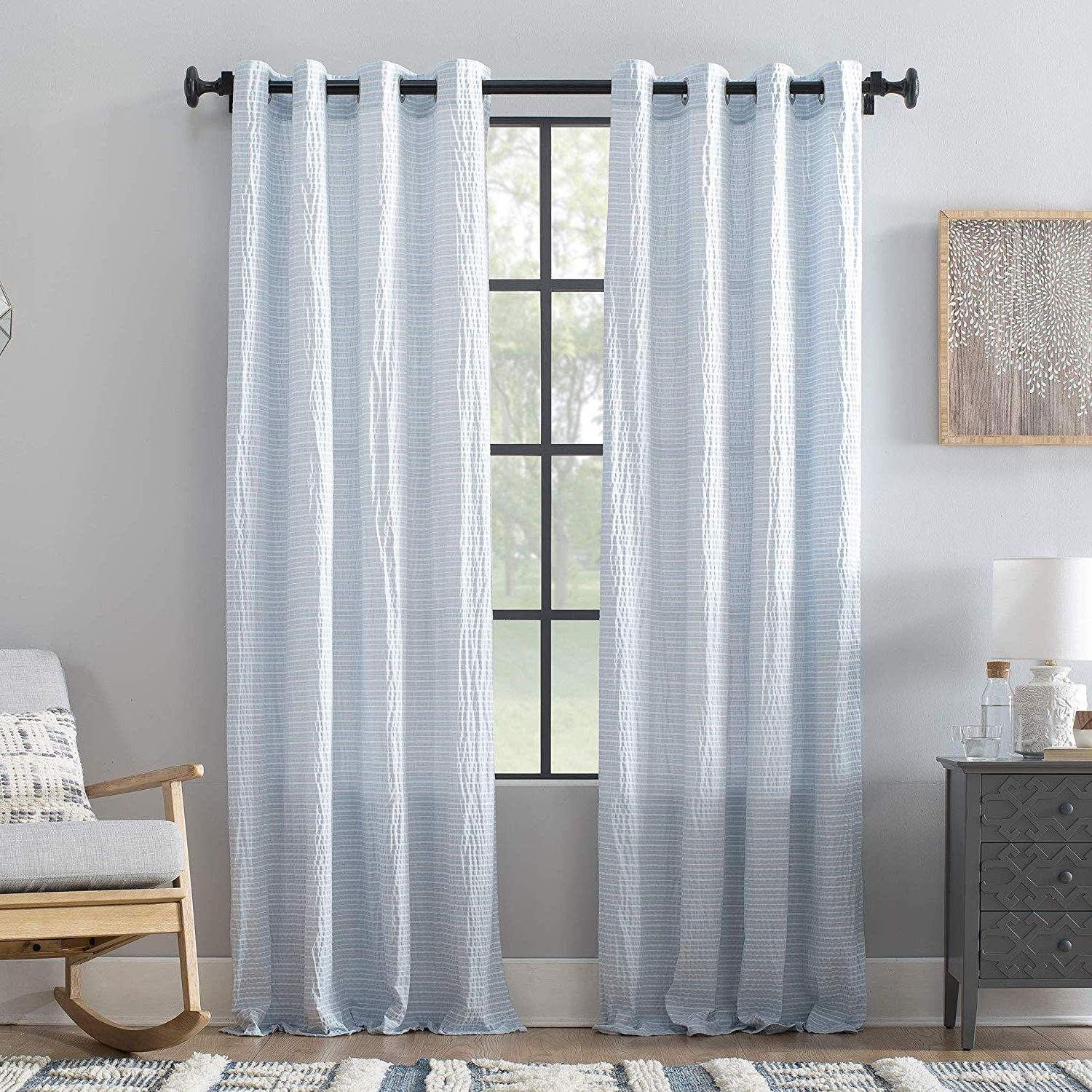 """Archaeo Seersucker Stripe Cotton Blend Grommet Top Curtain, 50"""" X 84"""",  Blue/white In Famous Ombre Stripe Yarn Dyed Cotton Window Curtain Panel Pairs (View 3 of 20)"""