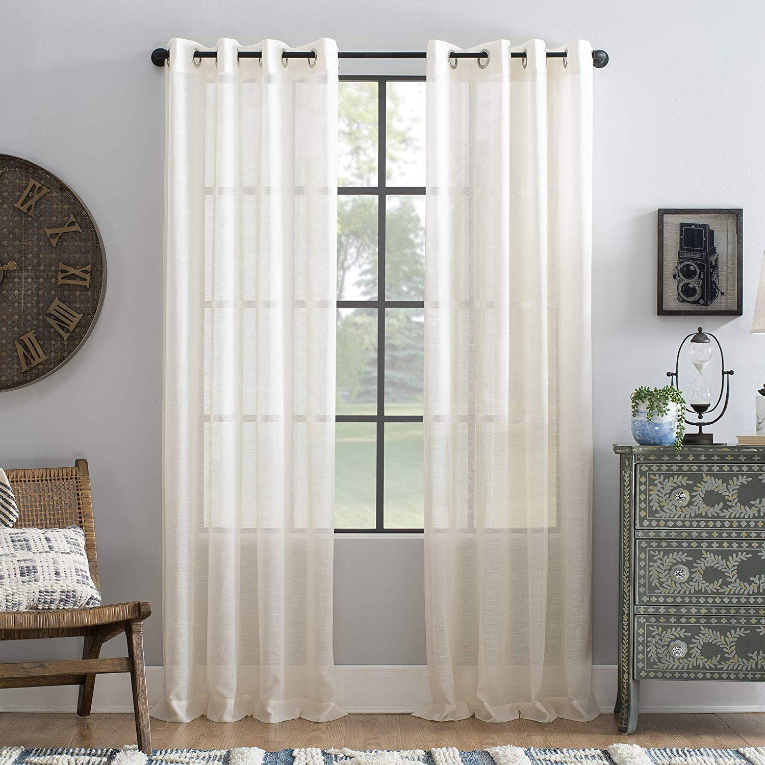 Featured Photo of Archaeo Slub Textured Linen Blend Grommet Top Curtains