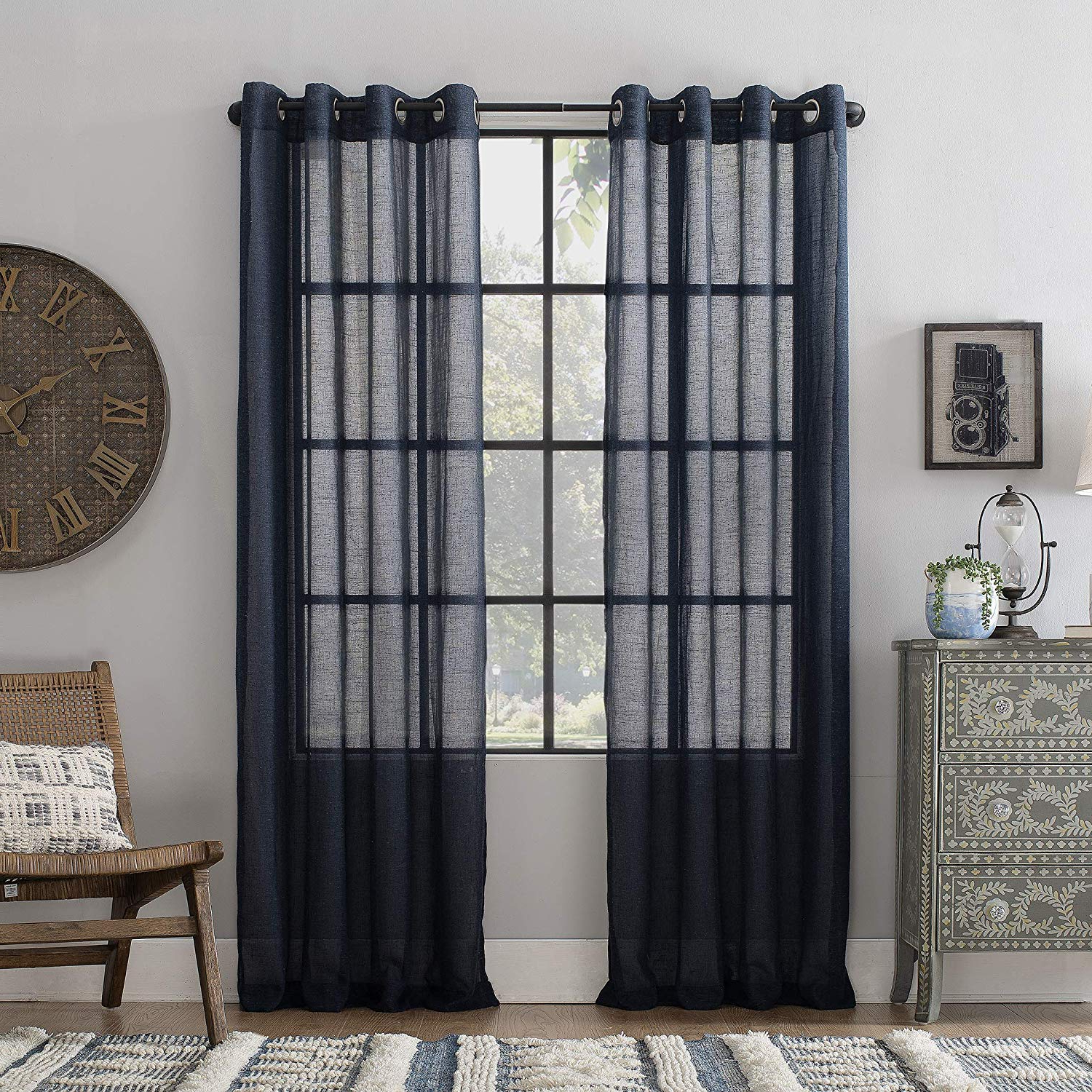 "Archaeo Slub Textured Linen Blend Grommet Top Curtain, 52"" X 84"", Navy Inside 2020 Archaeo Slub Textured Linen Blend Grommet Top Curtains (View 7 of 20)"