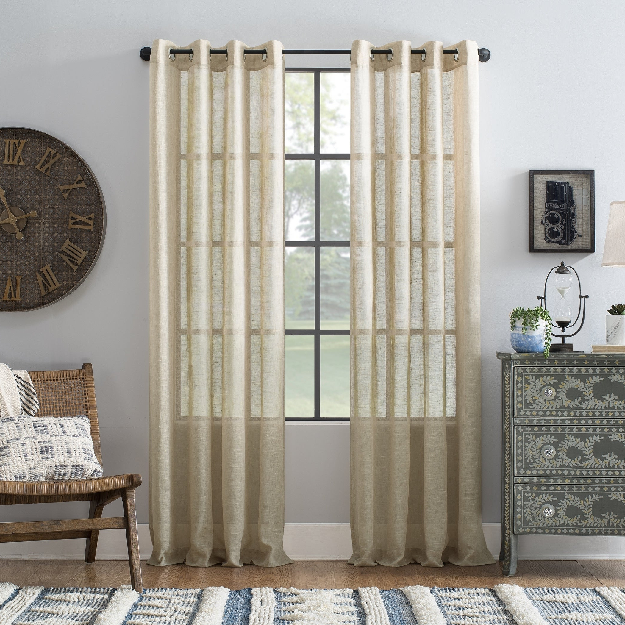 Archaeo Slub Textured Linen Blend Grommet Top Curtains Regarding Popular Archaeo Slub Textured Linen Blend Grommet Top Curtain (View 9 of 20)