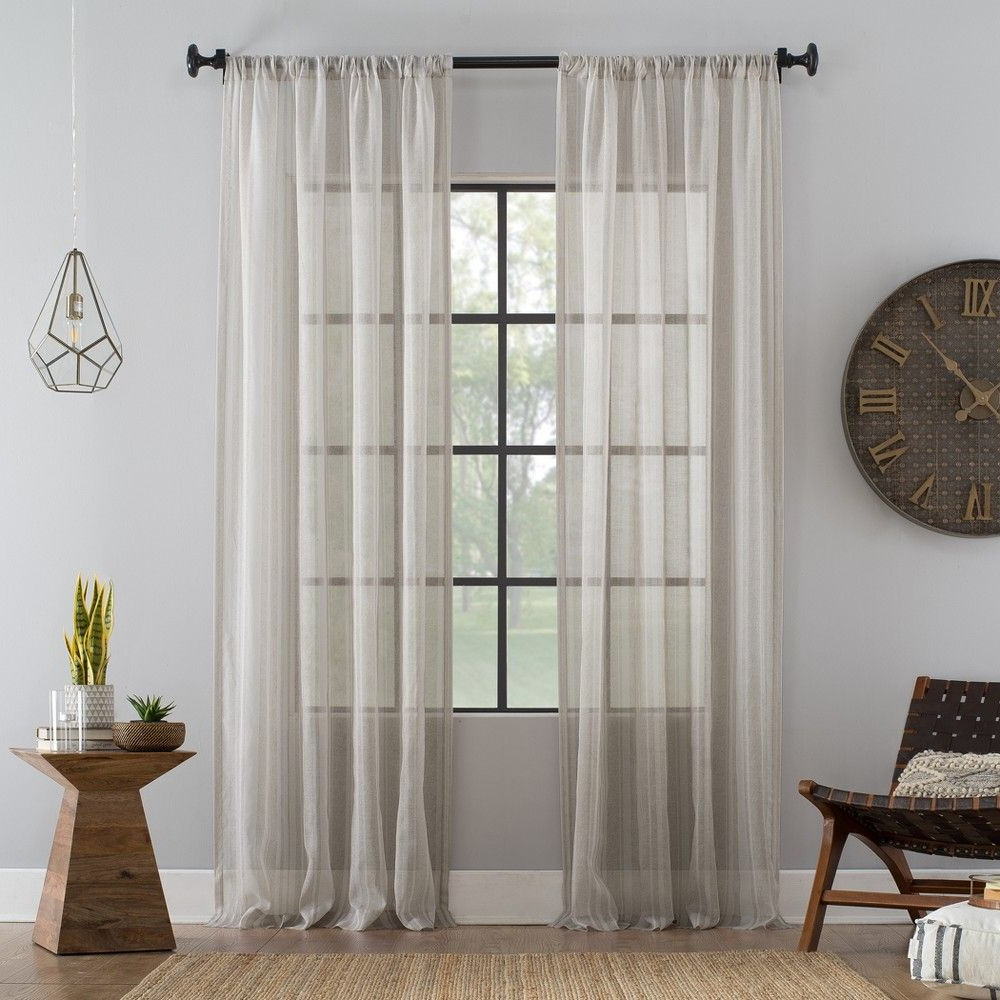 "Archaeo Slub Textured Linen Blend Grommet Top Curtains Within Well Known 54""x84"" Ticking Stripe Textured Cotton Blend Sheer Curtain (View 11 of 20)"