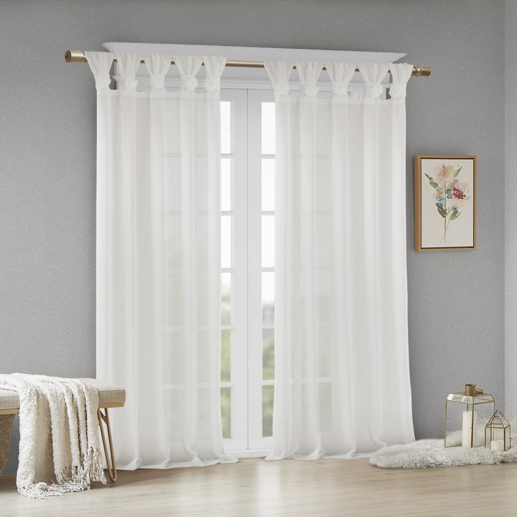 "Archaeo Washed Cotton Twist Tab Single Curtain Panels Inside Famous Madison Park Rosette Floral Embellished Cuff Tab Top Solid Window Treatments Curtain Panel Drape For Bedroom Living Room And Dorm, 50"" W X 95"" L, (View 14 of 20)"