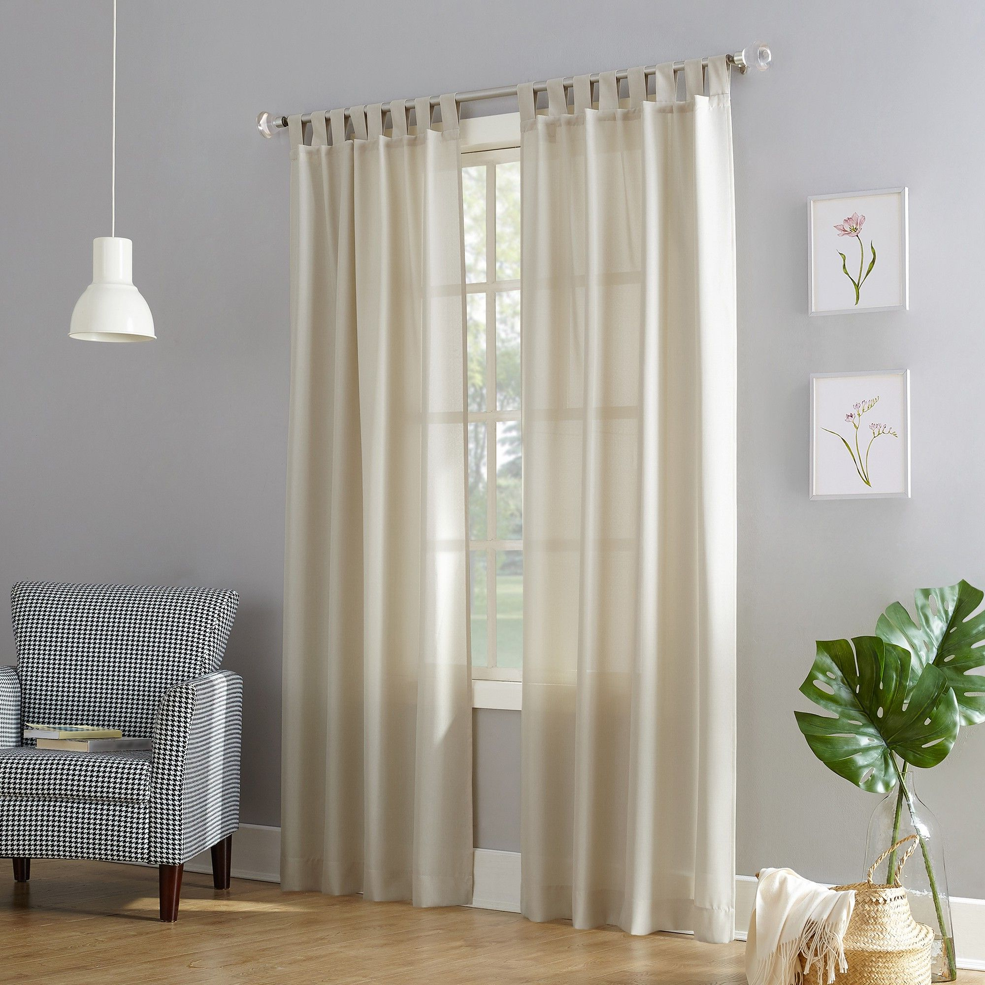 Archaeo Washed Cotton Twist Tab Single Curtain Panels Pertaining To Preferred Joshua Casual Textured Semi Sheer Tab Top Curtain Panel Ecru (View 12 of 20)