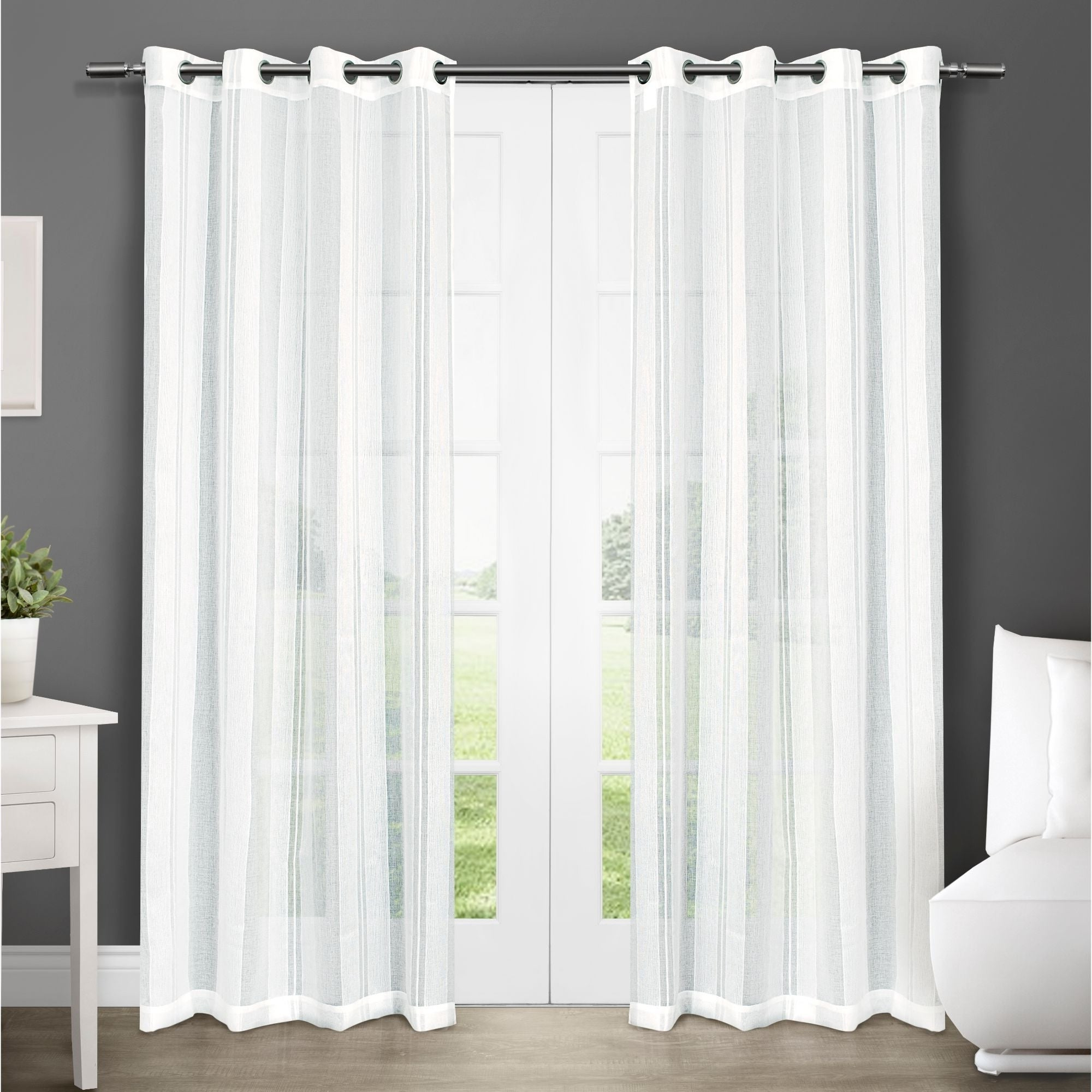 Ati Home Apollo Sheer Grommet Top Curtain Panel Pair Within Well Known Luxury Collection Cranston Sheer Curtain Panel Pairs (View 3 of 20)