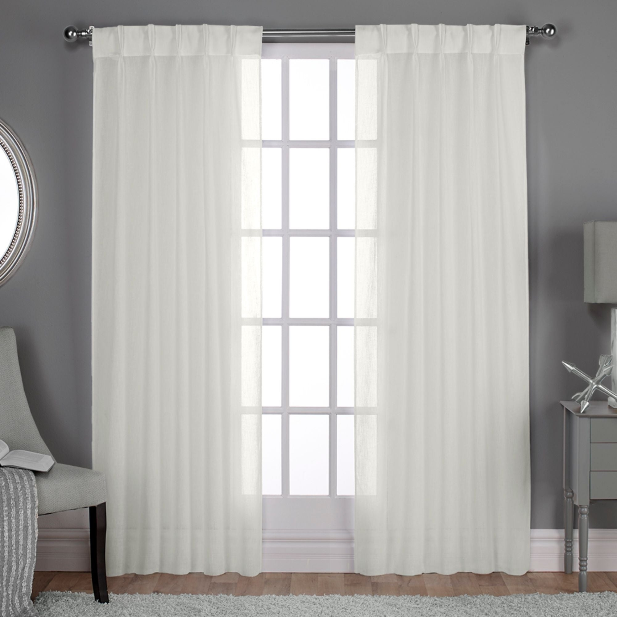 Ati Home Belgian Jacquard Sheer Double Pinch Pleat Top Curtain Panel Pair For Most Up To Date Double Pinch Pleat Top Curtain Panel Pairs (View 1 of 20)