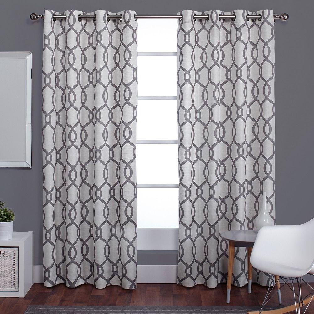 Ati Home Kochi Linen Blend Grommet Top Curtain Panel Pair Pertaining To 2020 Essentials Almaden Fretwork Printed Grommet Top Curtain Panel Pairs (View 10 of 20)