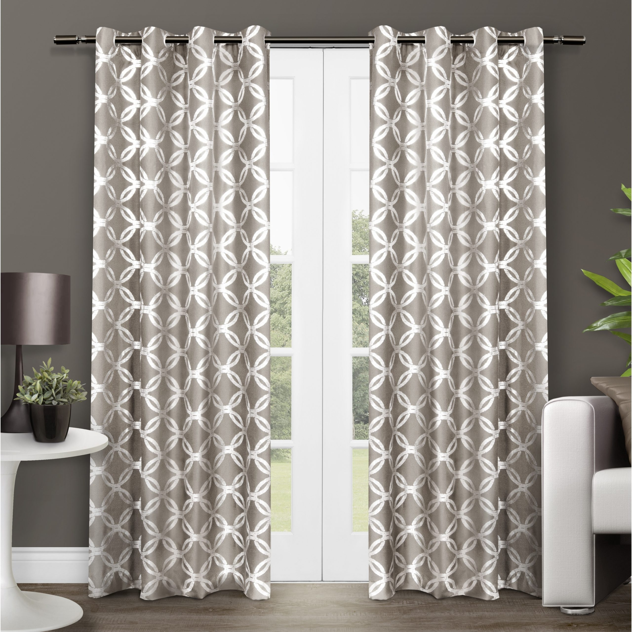 Ati Home Modo Metallic (grey) Geometric Curtain Panel Pair For Most Current Keyes Blackout Single Curtain Panels (View 4 of 20)