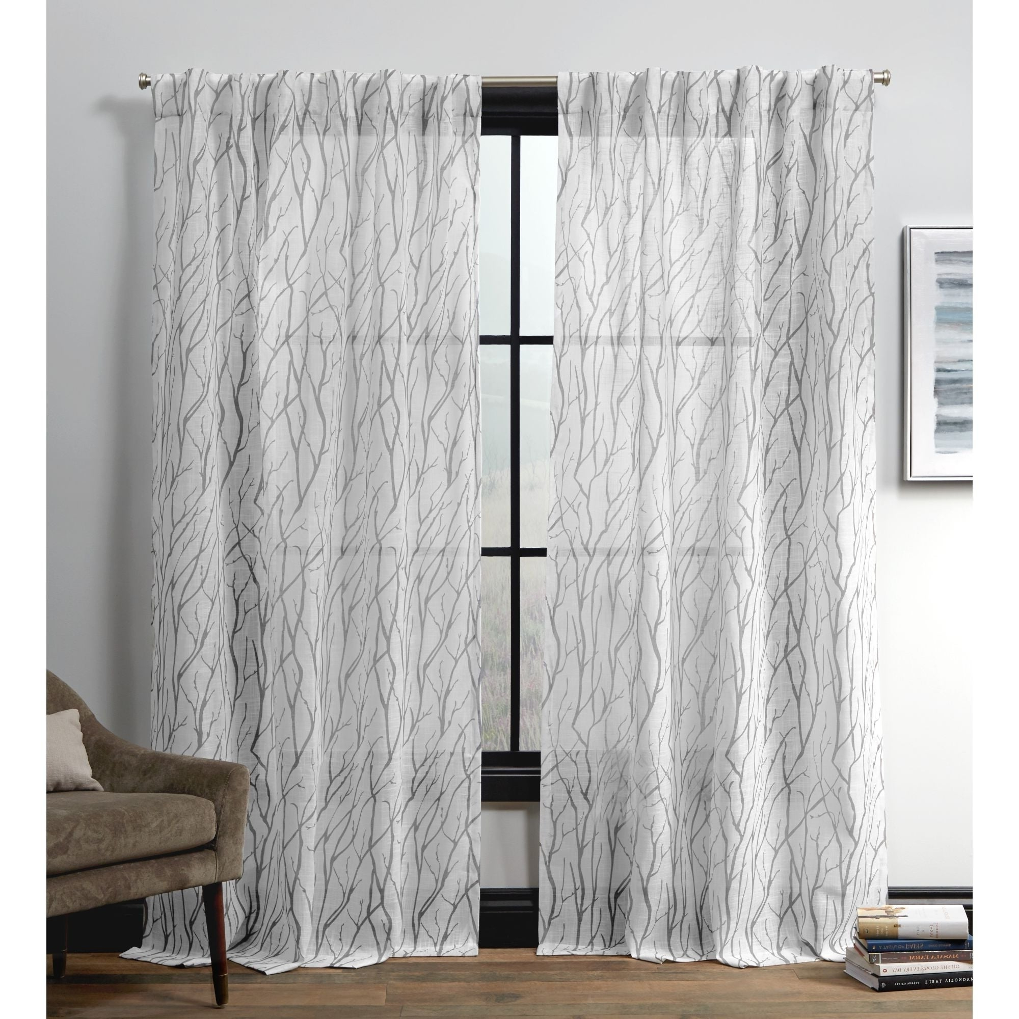 Ati Home Oakdale Motif Textured Linen Hidden Tab Top Sheer Panel Pair Pertaining To Most Recently Released Oakdale Textured Linen Sheer Grommet Top Curtain Panel Pairs (View 2 of 20)