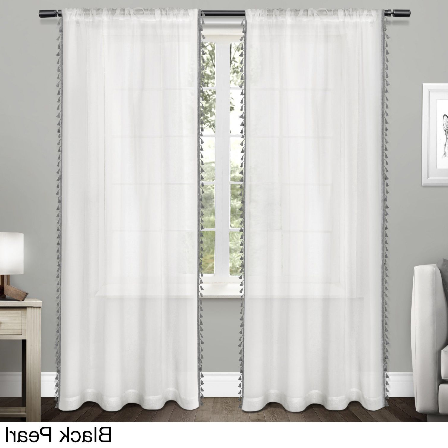 Ati Home Rod Pocket Curtain Panel Pair With Tassels (Tassels In Most Recently Released Tassels Applique Sheer Rod Pocket Top Curtain Panel Pairs (View 1 of 20)