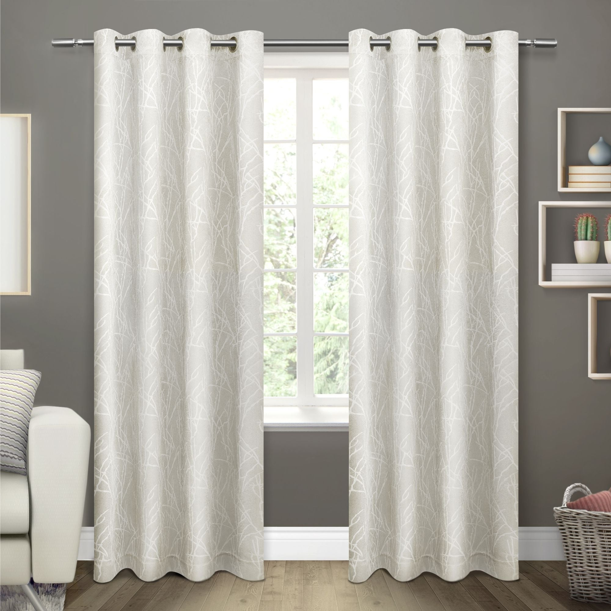 Ati Home Twig Insulated Blackout Curtain Panel Pair With Grommet Top In Current Gracewood Hollow Tucakovic Energy Efficient Fabric Blackout Curtains (View 17 of 20)