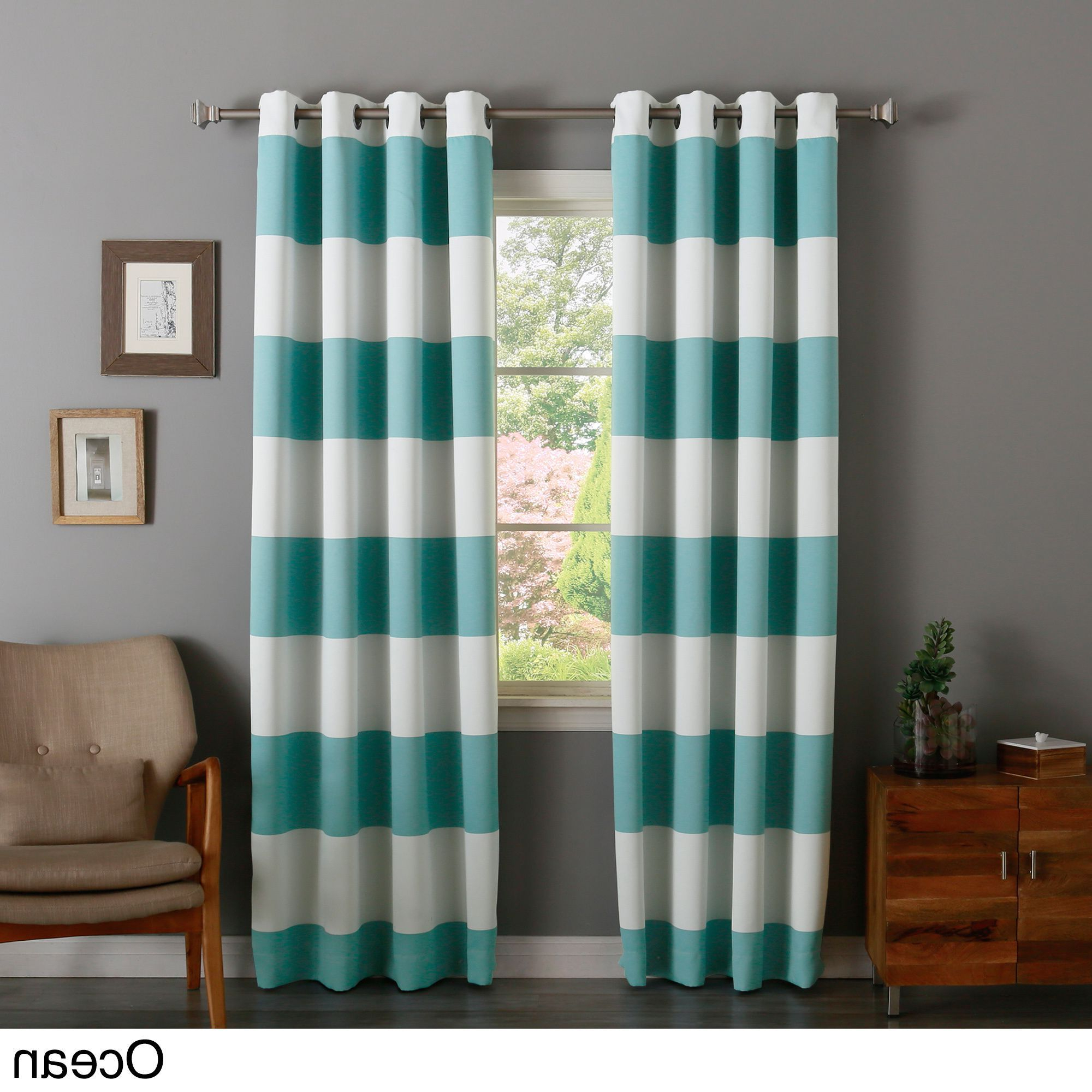 Aurora Home Cabana Stripe Printed Room Darkening Curtain For Most Popular Ocean Striped Window Curtain Panel Pairs With Grommet Top (View 18 of 20)