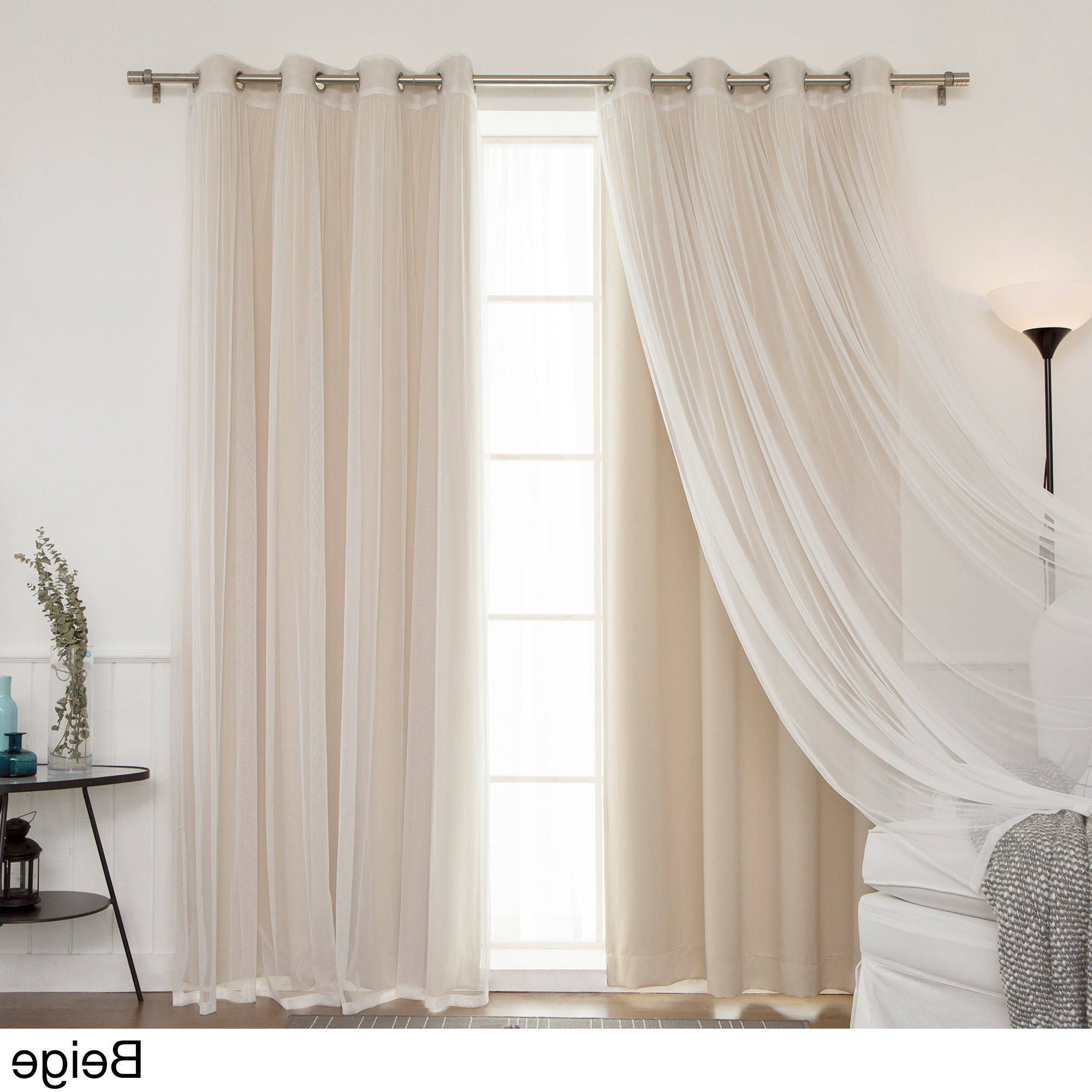 Aurora Home Mix And Match Blackout Tulle Lace Sheer 4 Piece Curtain Panel Set Inside Widely Used Mix And Match Blackout Tulle Lace Sheer Curtain Panel Sets (View 2 of 20)